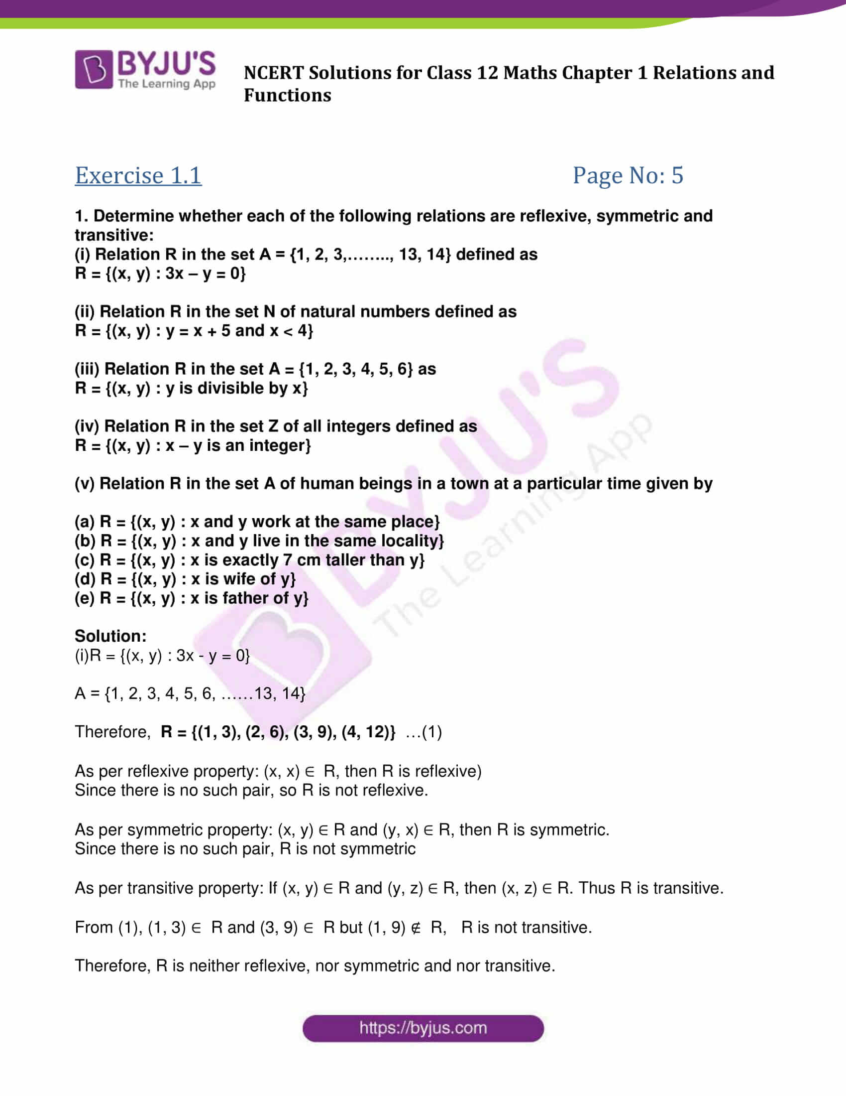 NCERT Solutions Class 12 Maths Chapter 1 Relations And