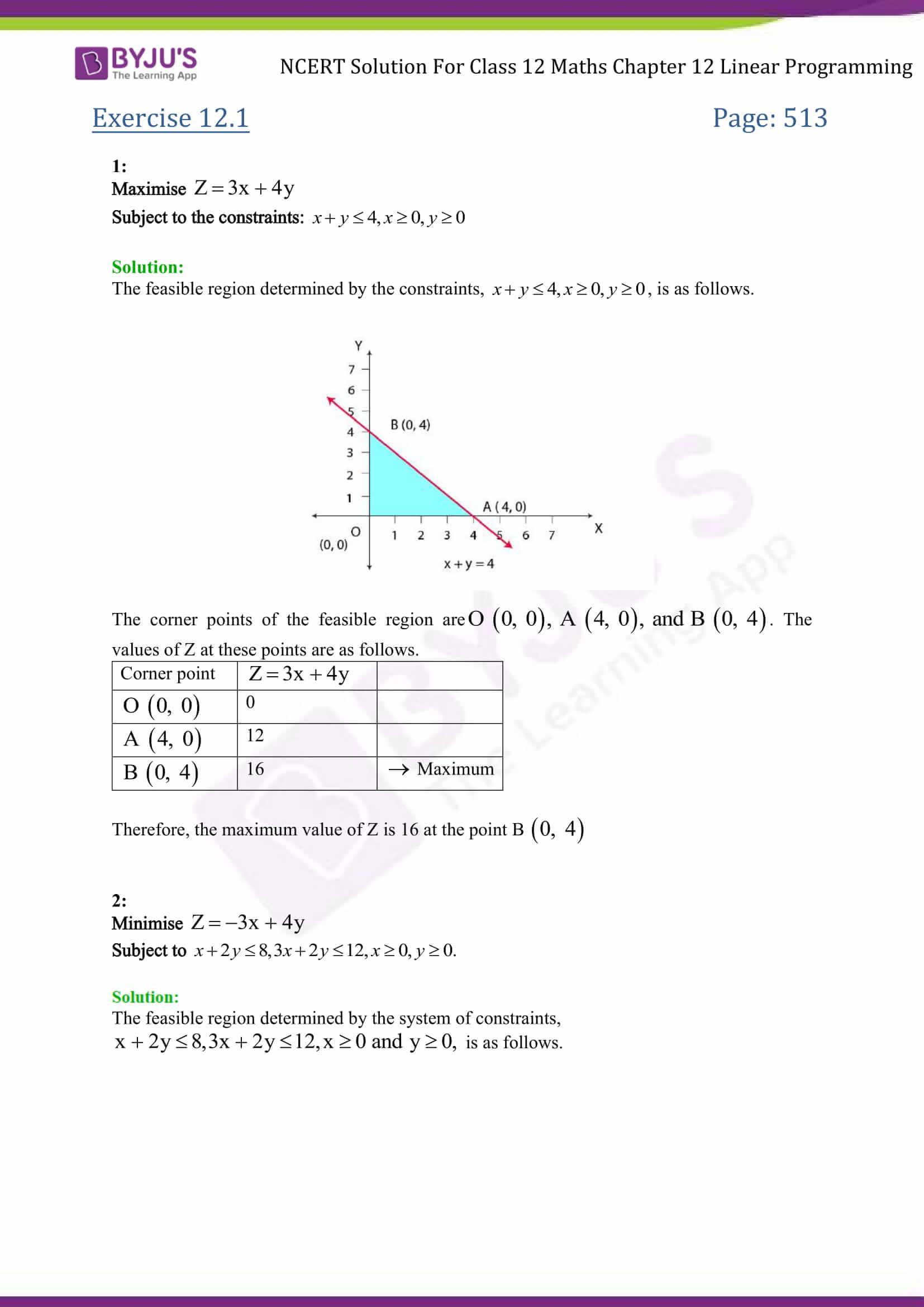 NCERT Solutions Class 12 Maths Chapter 12 Linear Programming