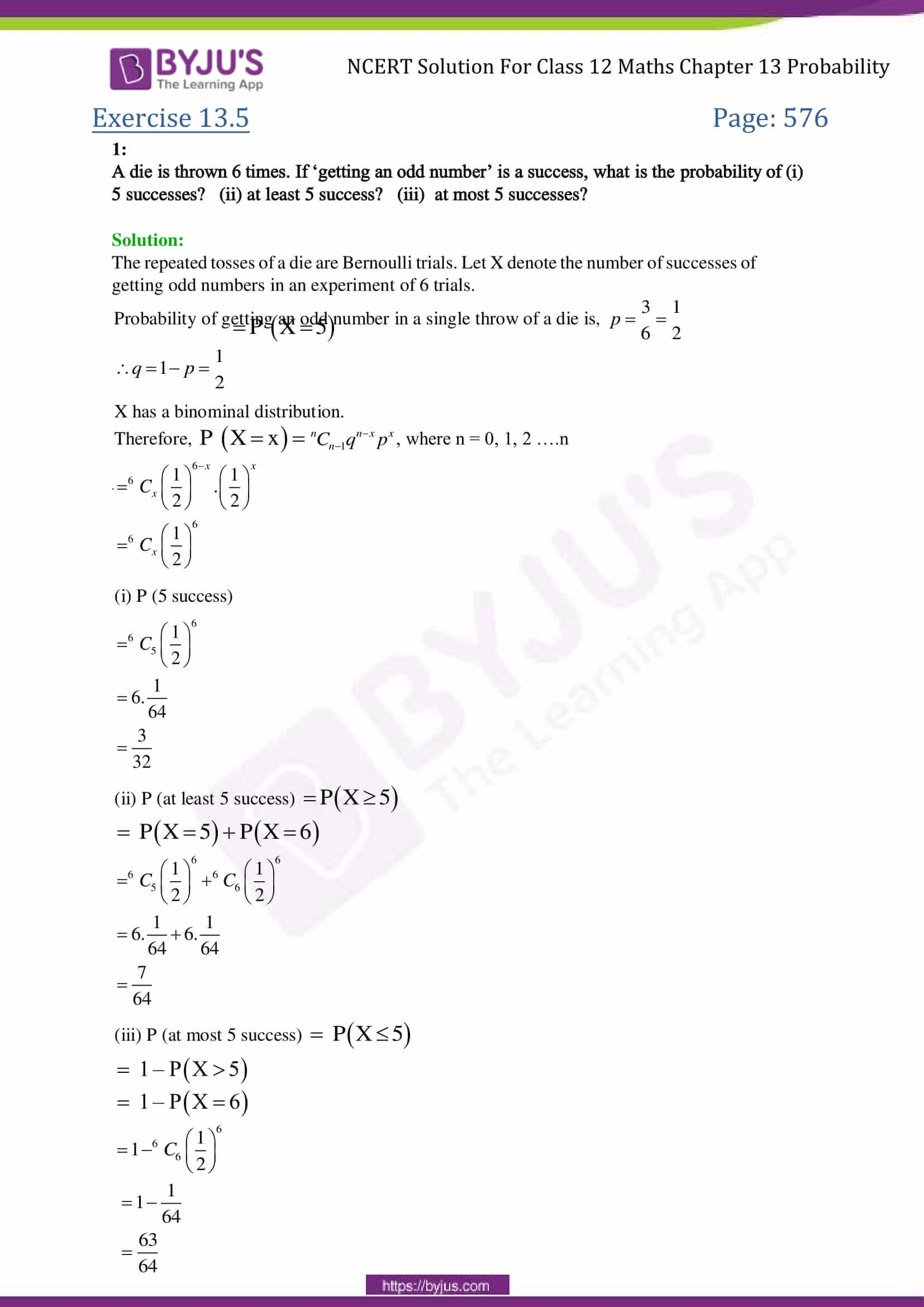 NCERT Solutions for Class 12 Maths Exercise 13 5 Chapter 13- probability