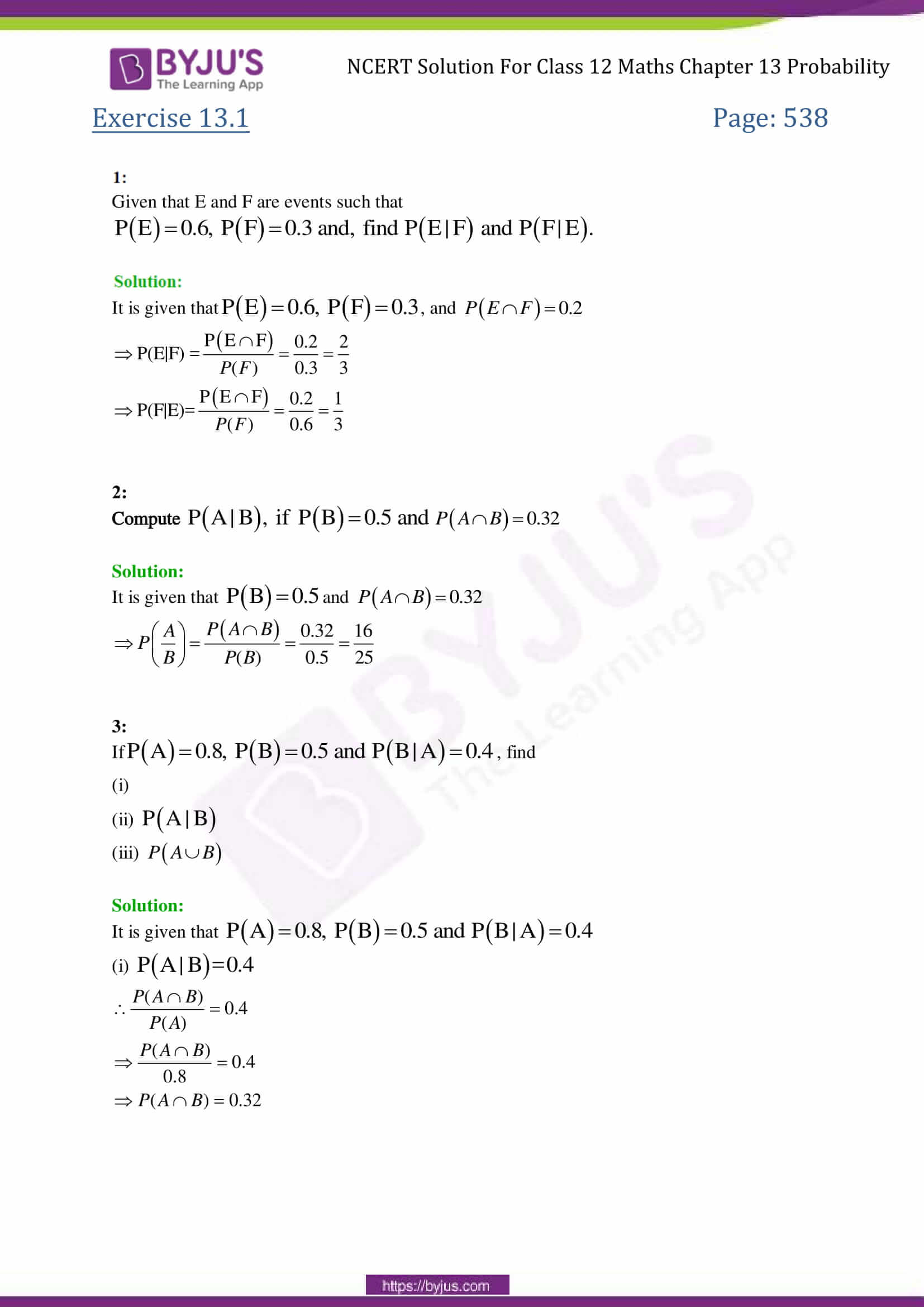 NCERT Solutions Class 12 Maths Chapter 13 Probability Free