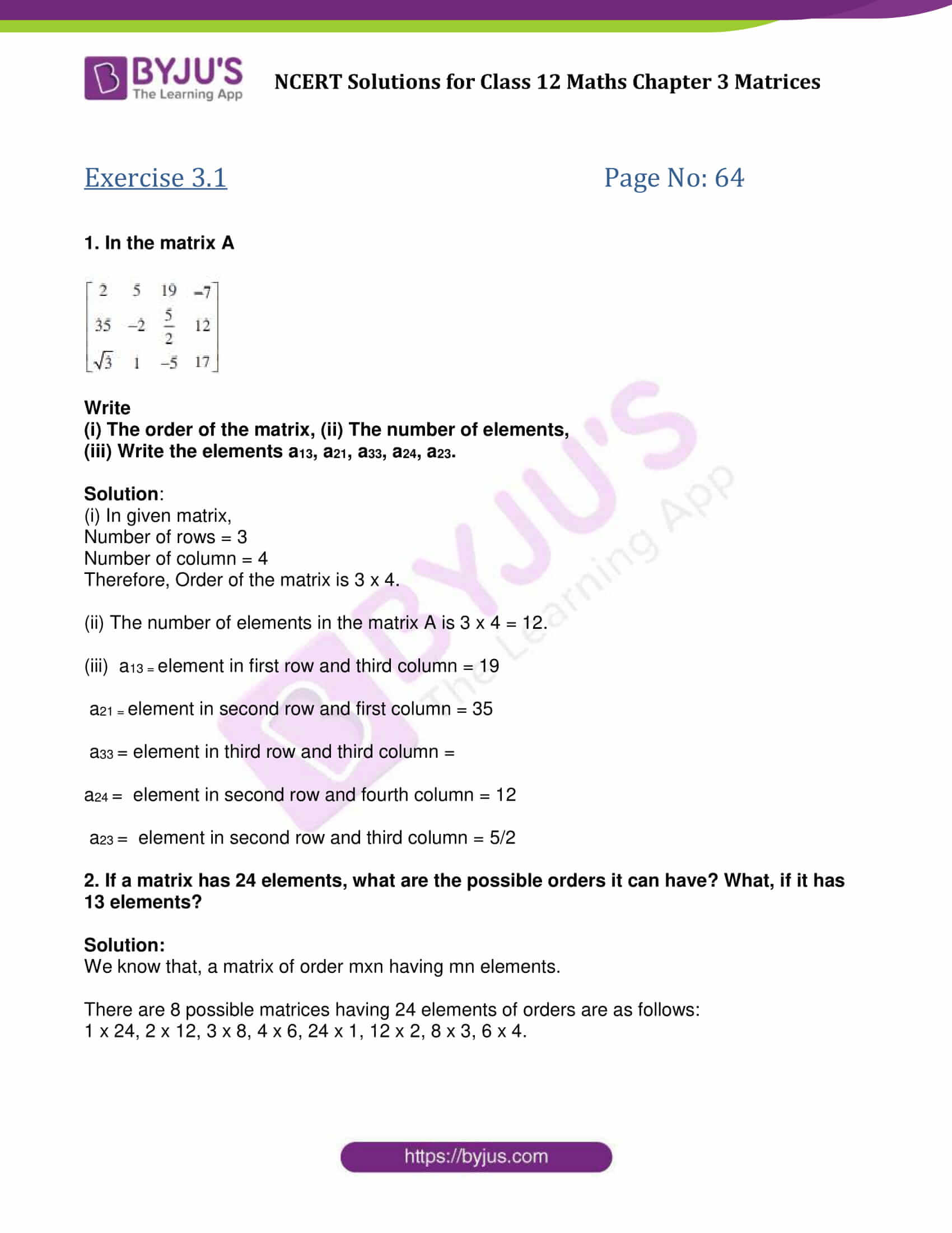 NCERT Solutions Class 12 Maths Chapter 3 Matrices - Free