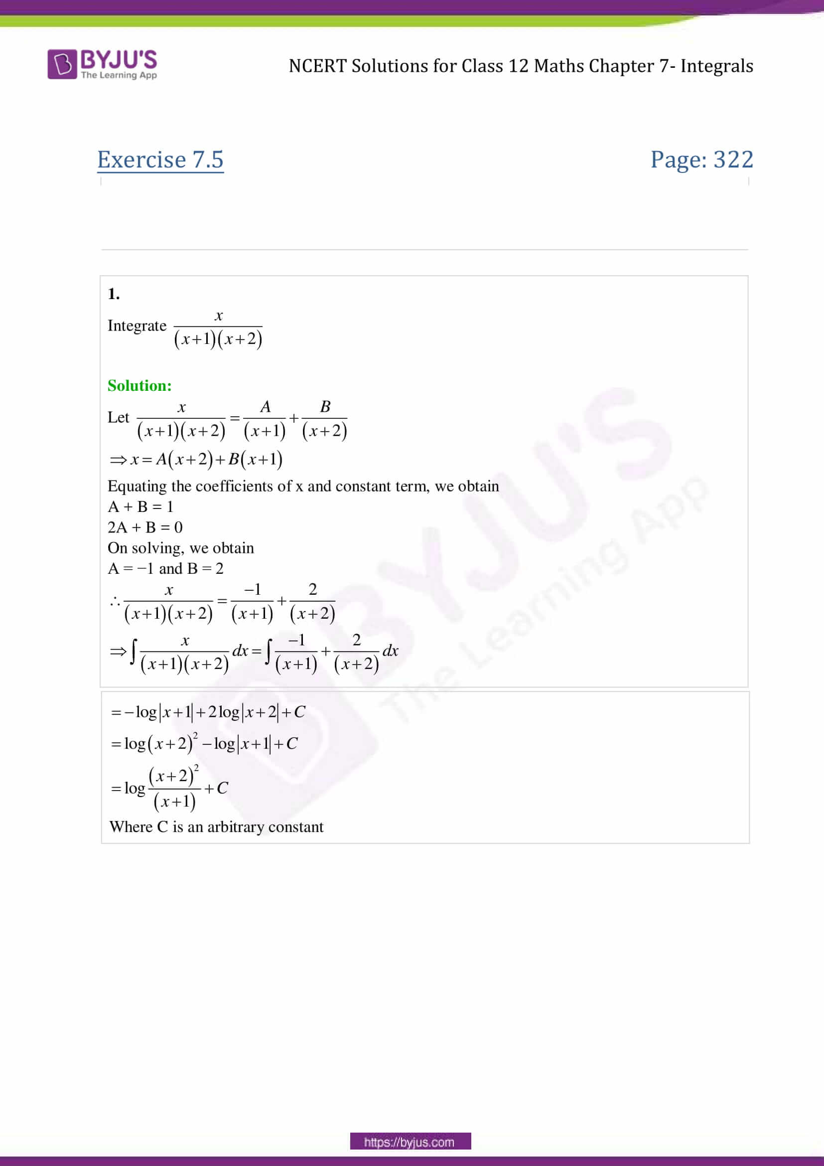 NCERT Solutions for Class 12 Maths Exercise 7 5 Chapter 7- integrals