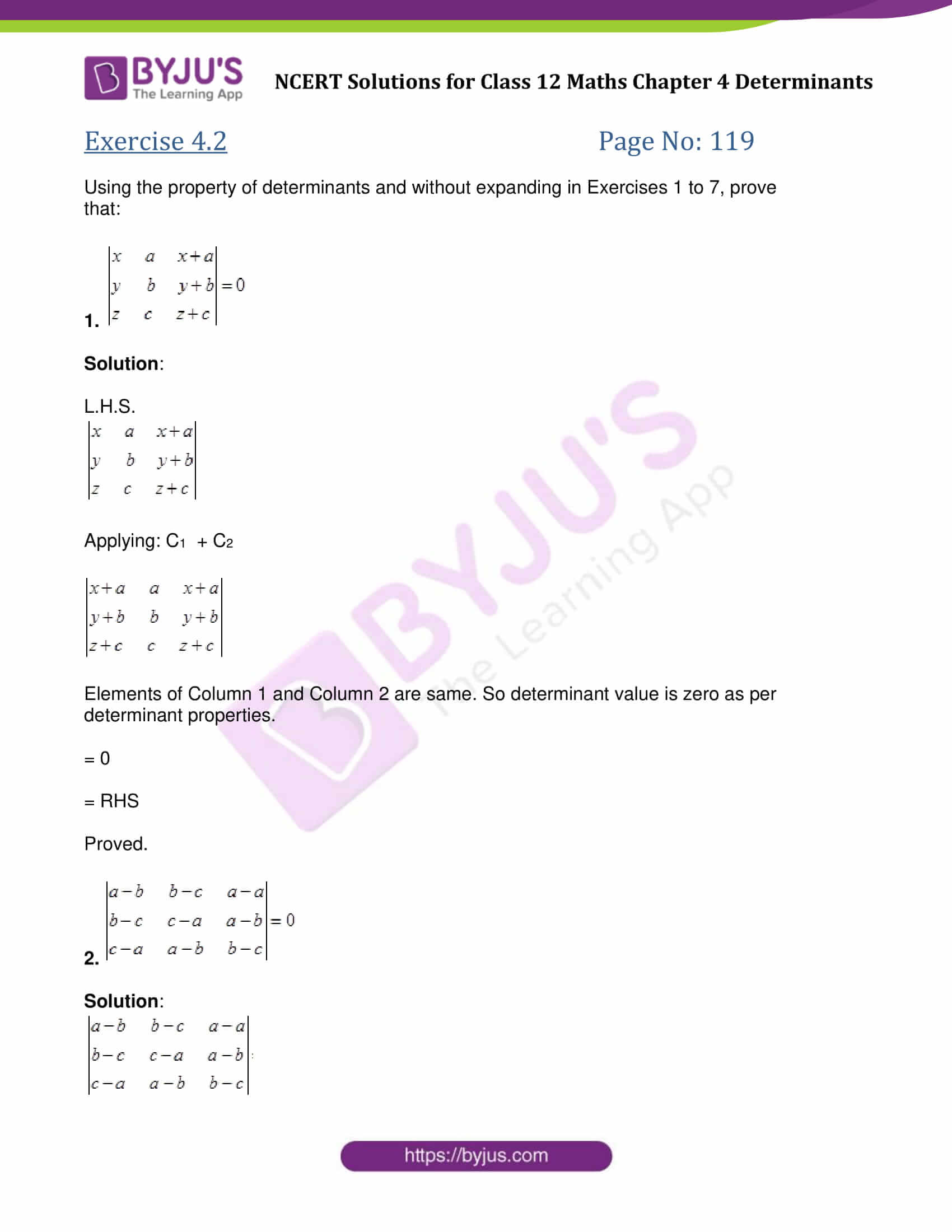 NCERT Solutions for Class 12 Maths Exercise 4 2 Chapter 4