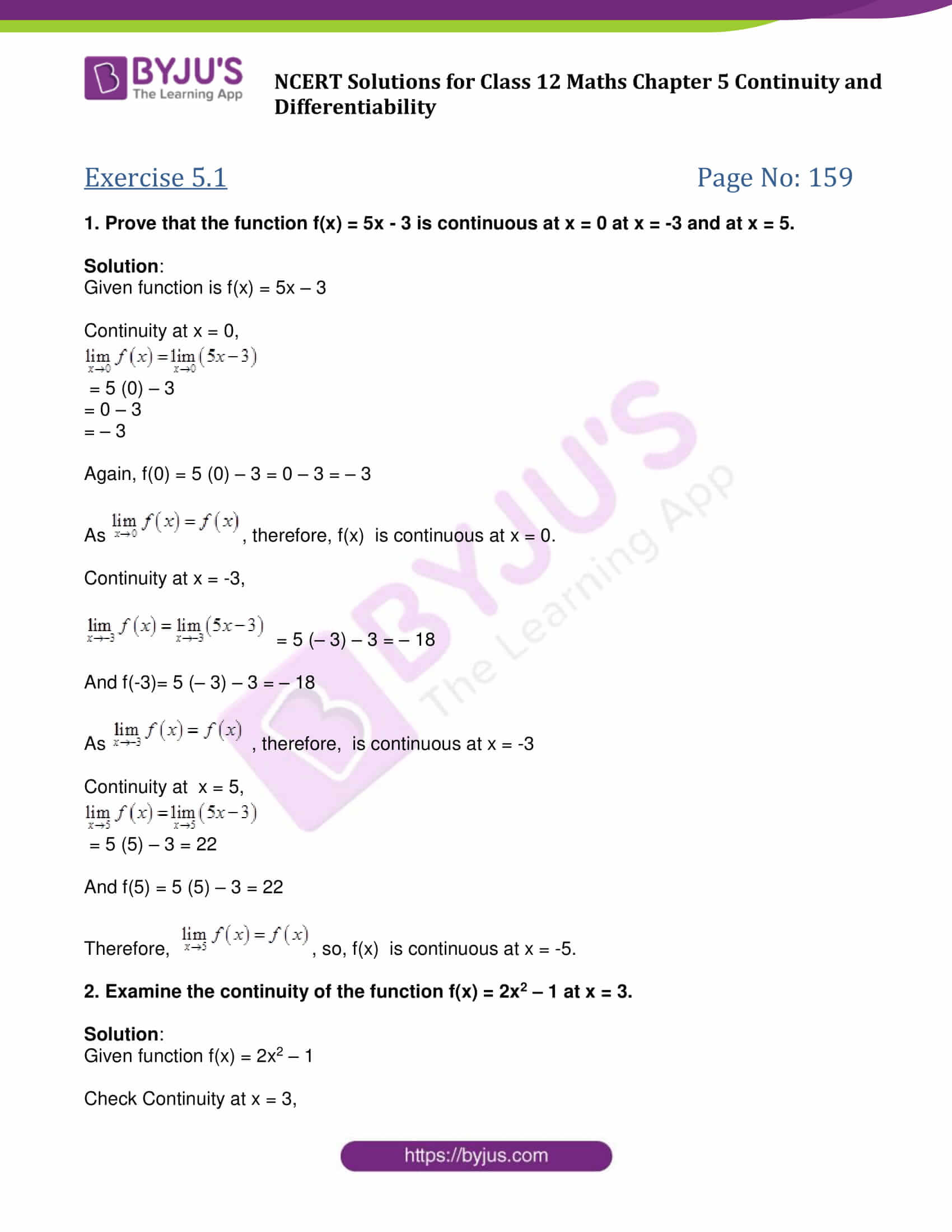 NCERT Solutions Class 12 Maths Chapter 5 Continuity and