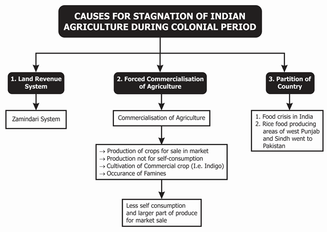 cause for stagnation of Indian agriculture during colonial period
