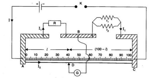 Resistances r1 and r2 connected in parallel to one arm of a metre bridge