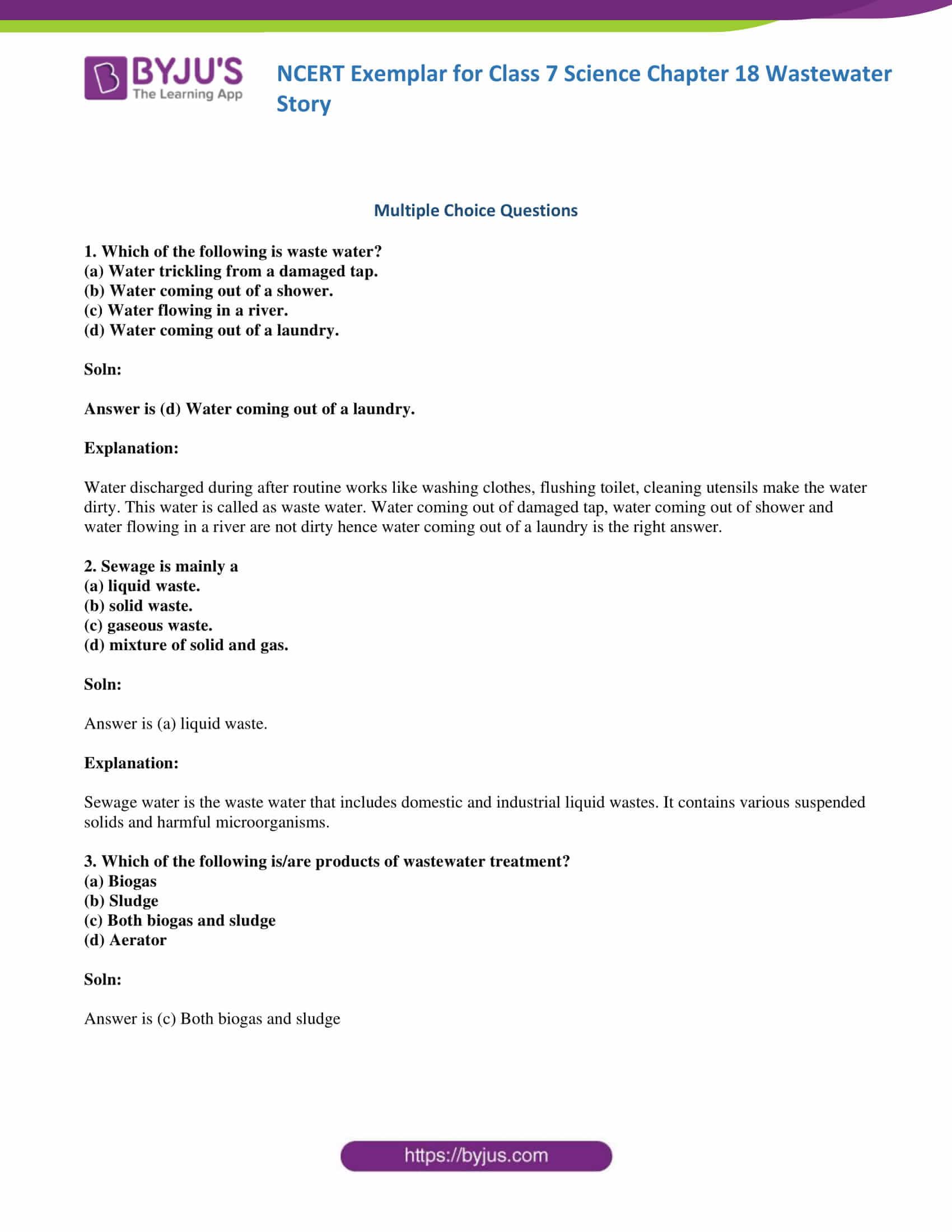 NCERT Exemplar solution class 7 science Chapter 18 1