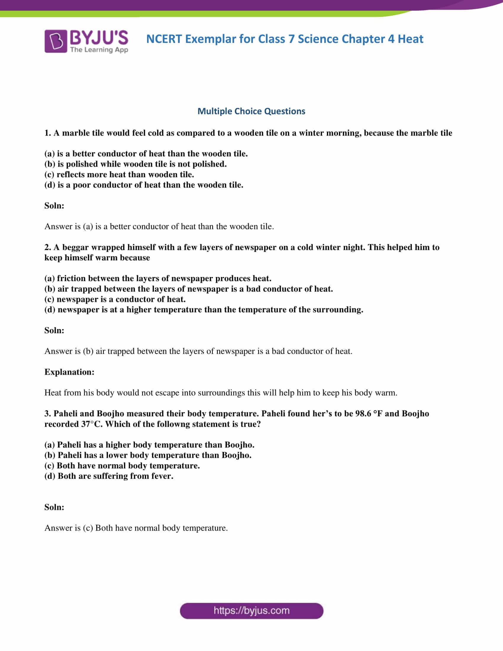 NCERT Exemplar solution class 7 science Chapter 4 1