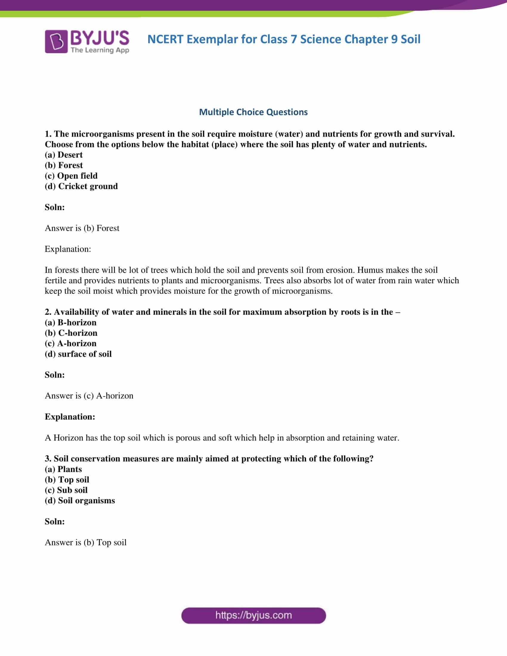 NCERT Exemplar solution class 7 science Chapter 9 1