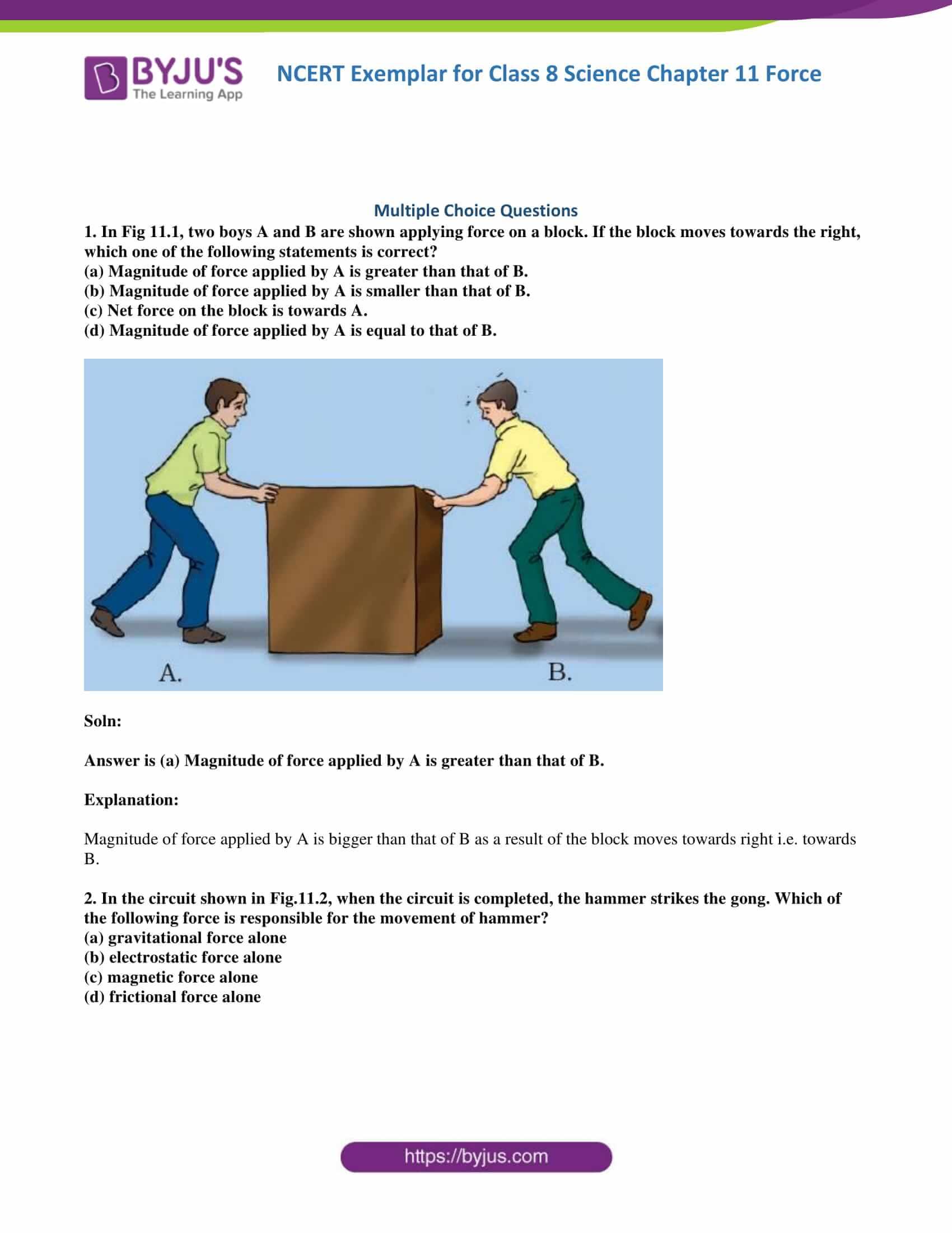 NCERT Exemplar solution class 8 Science Chapter 11 part 01