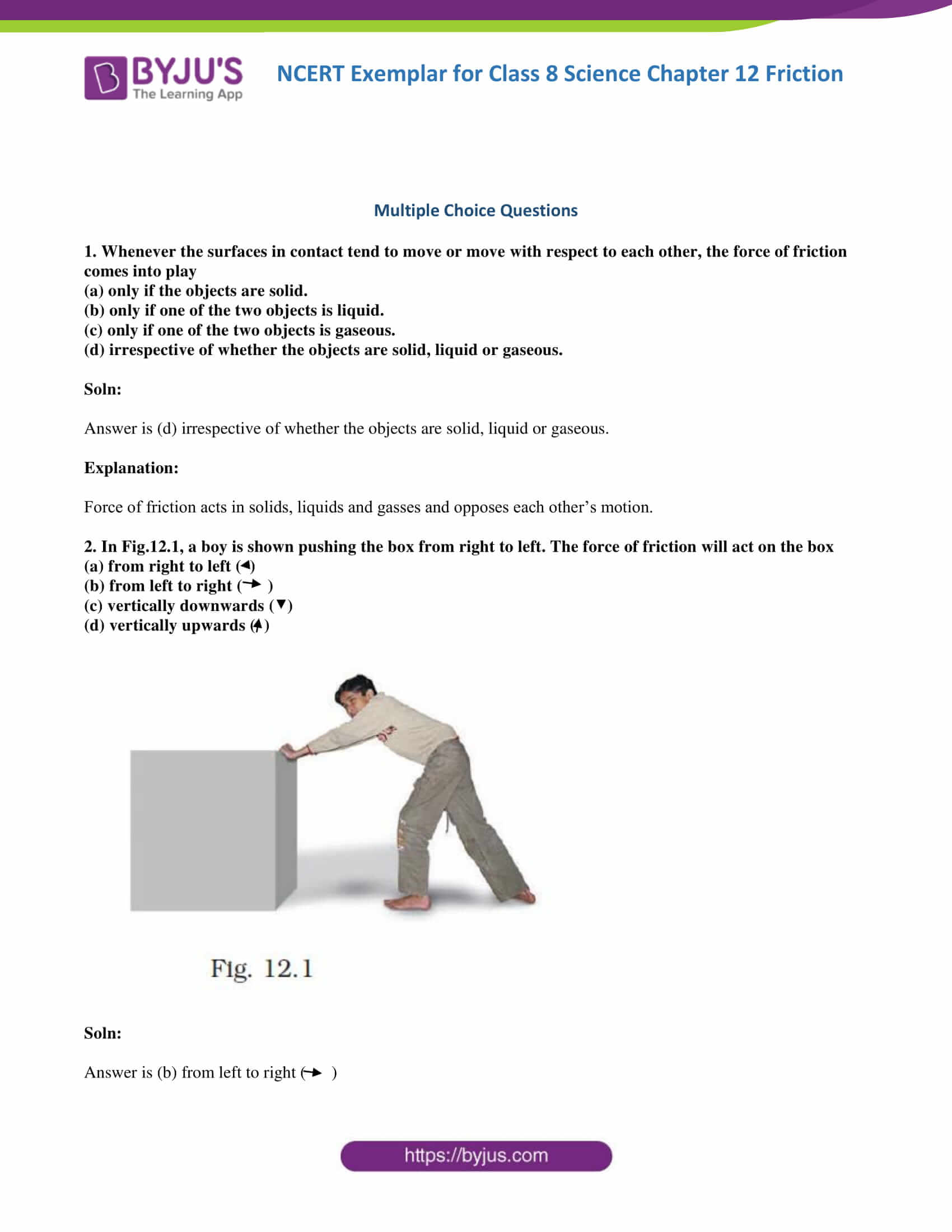 NCERT Exemplar solution class 8 Science Chapter 12 part 1