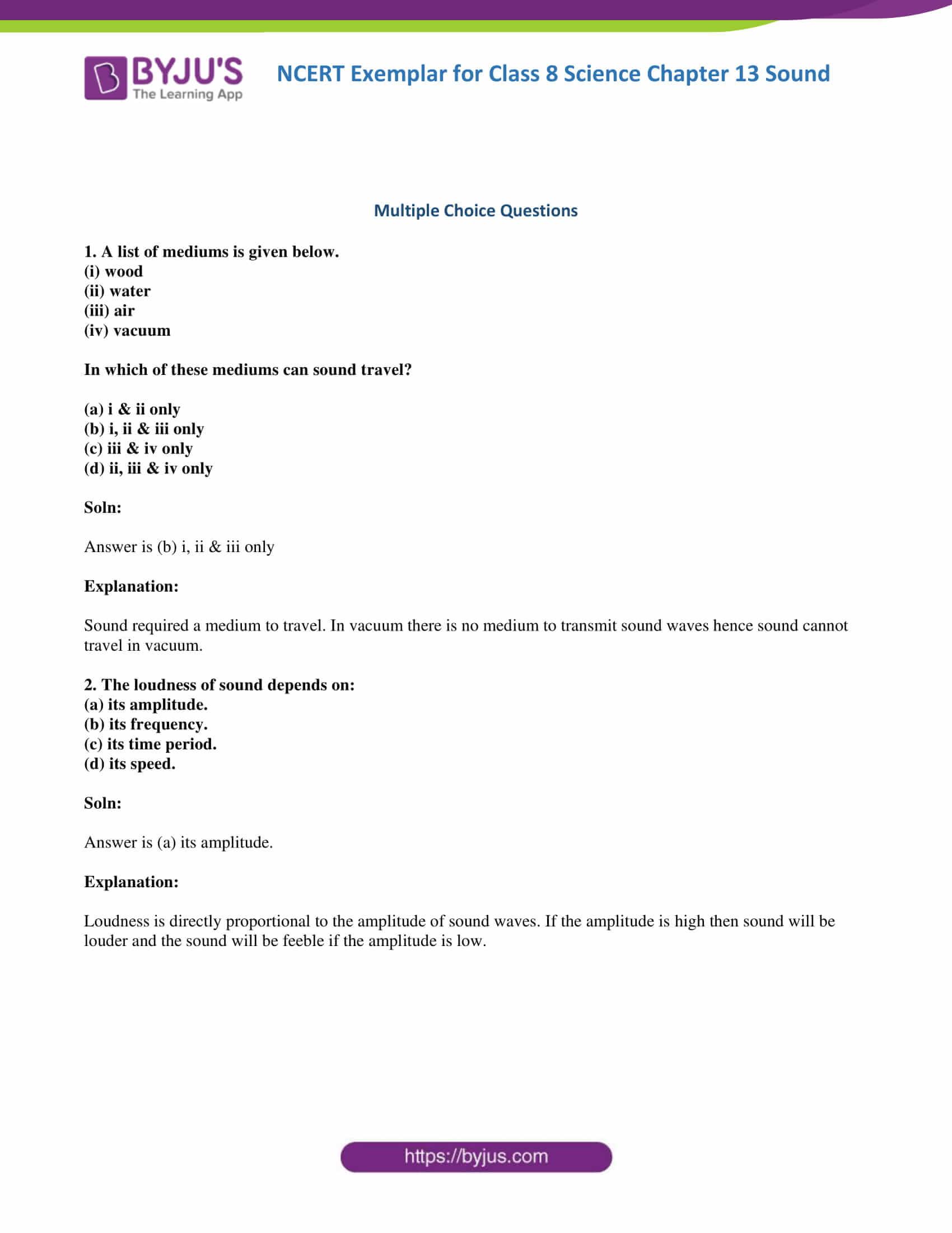NCERT Exemplar solution class 8 science chapter 13 part 1