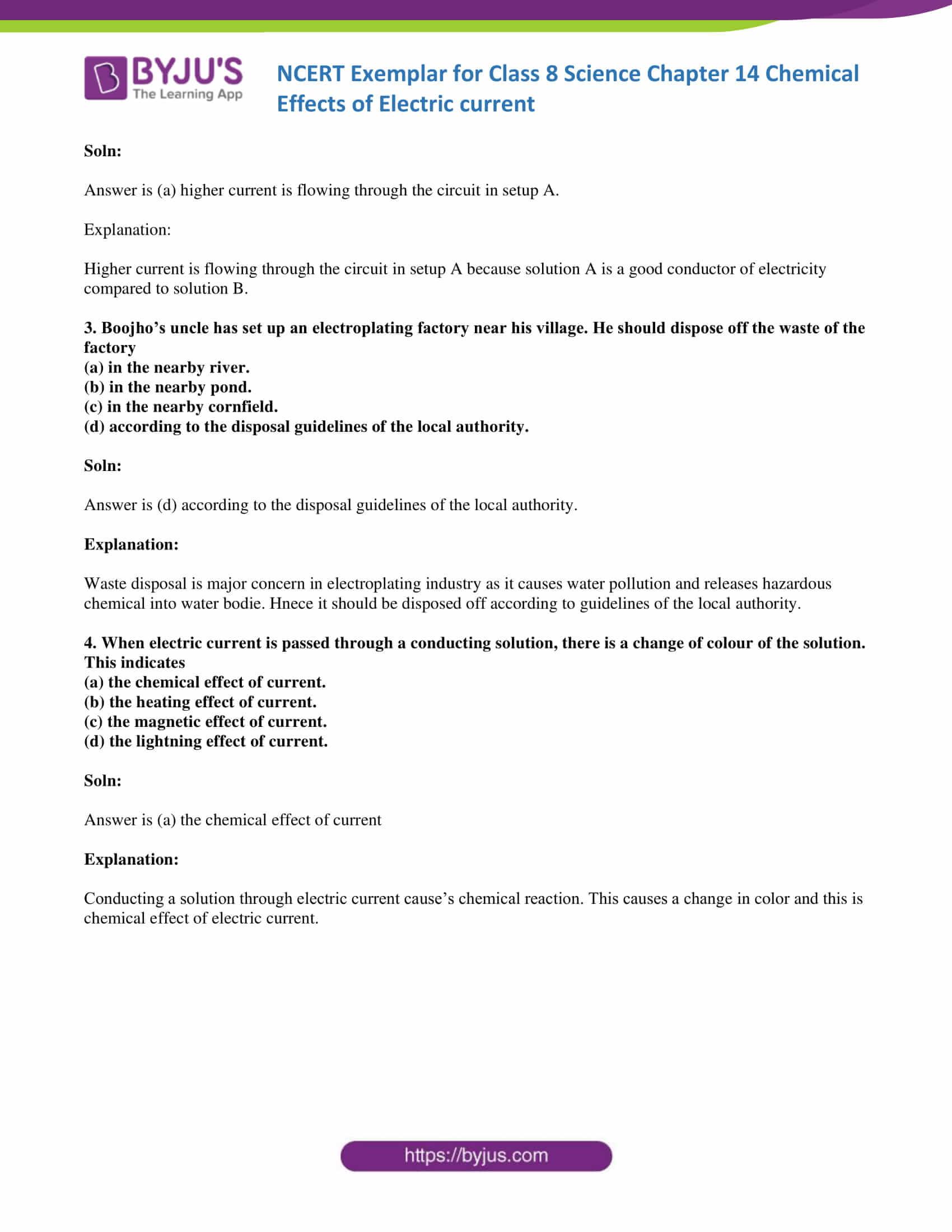 NCERT Exemplar solution class 8 science chapter 14 part 02