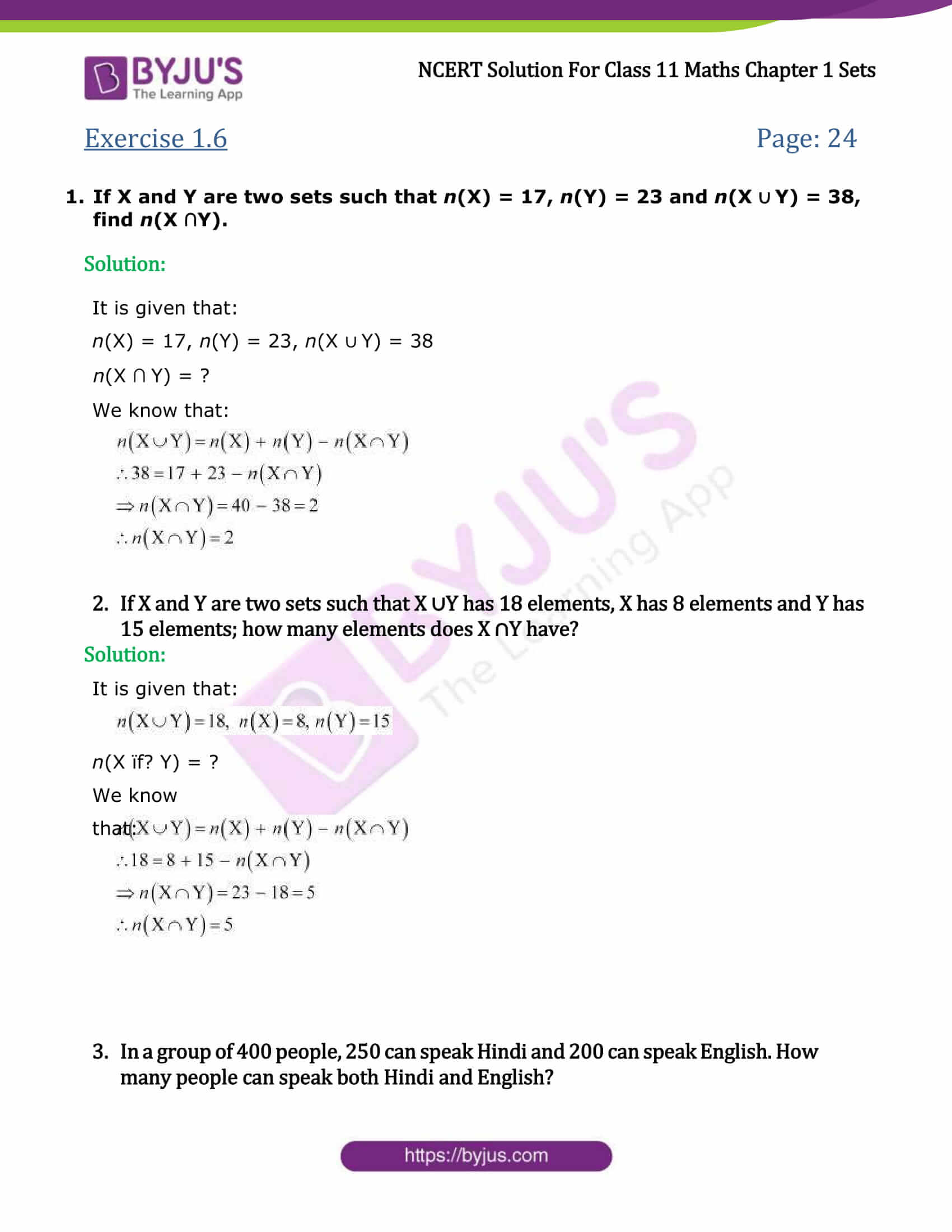 NCERT Solutions Class 11 Maths Chapter 1 Sets Ex 1 6 Free PDF Download