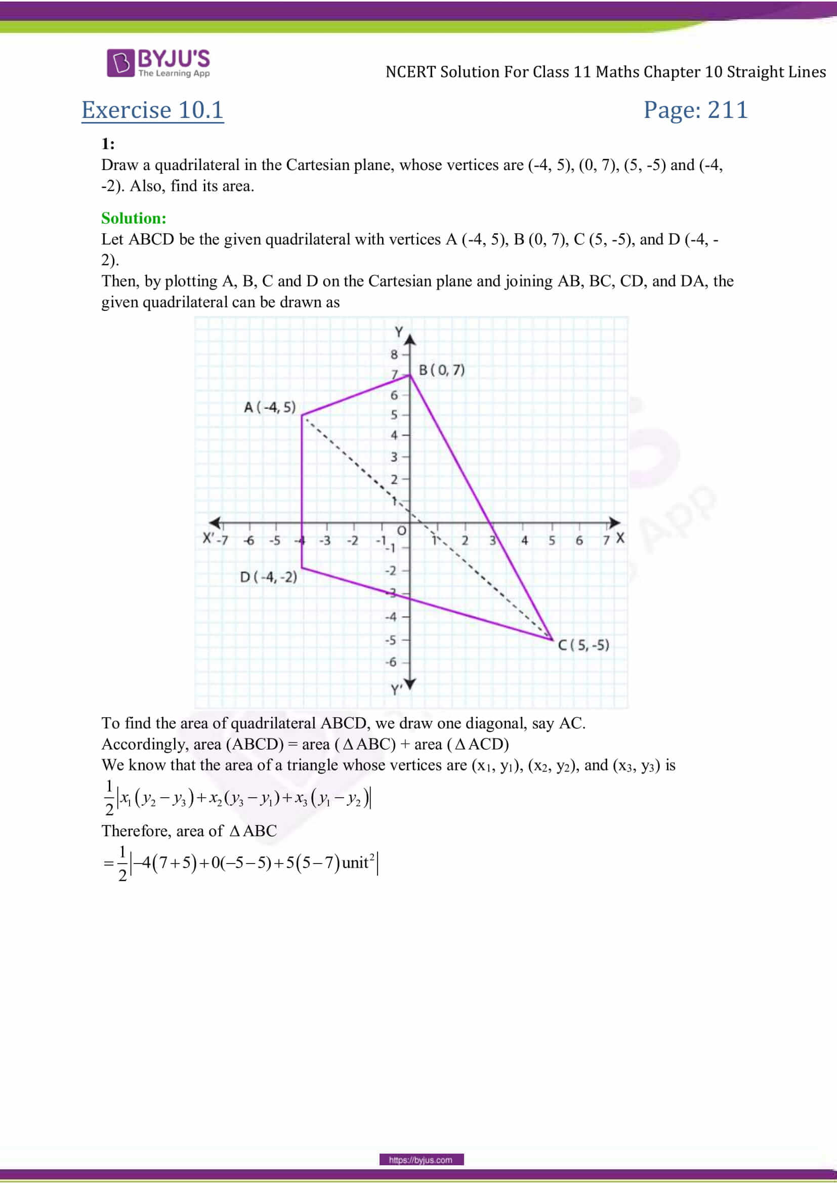 NCERT Solutions Class 11 Maths Chapter 10 Straight Lines - BYJU'S