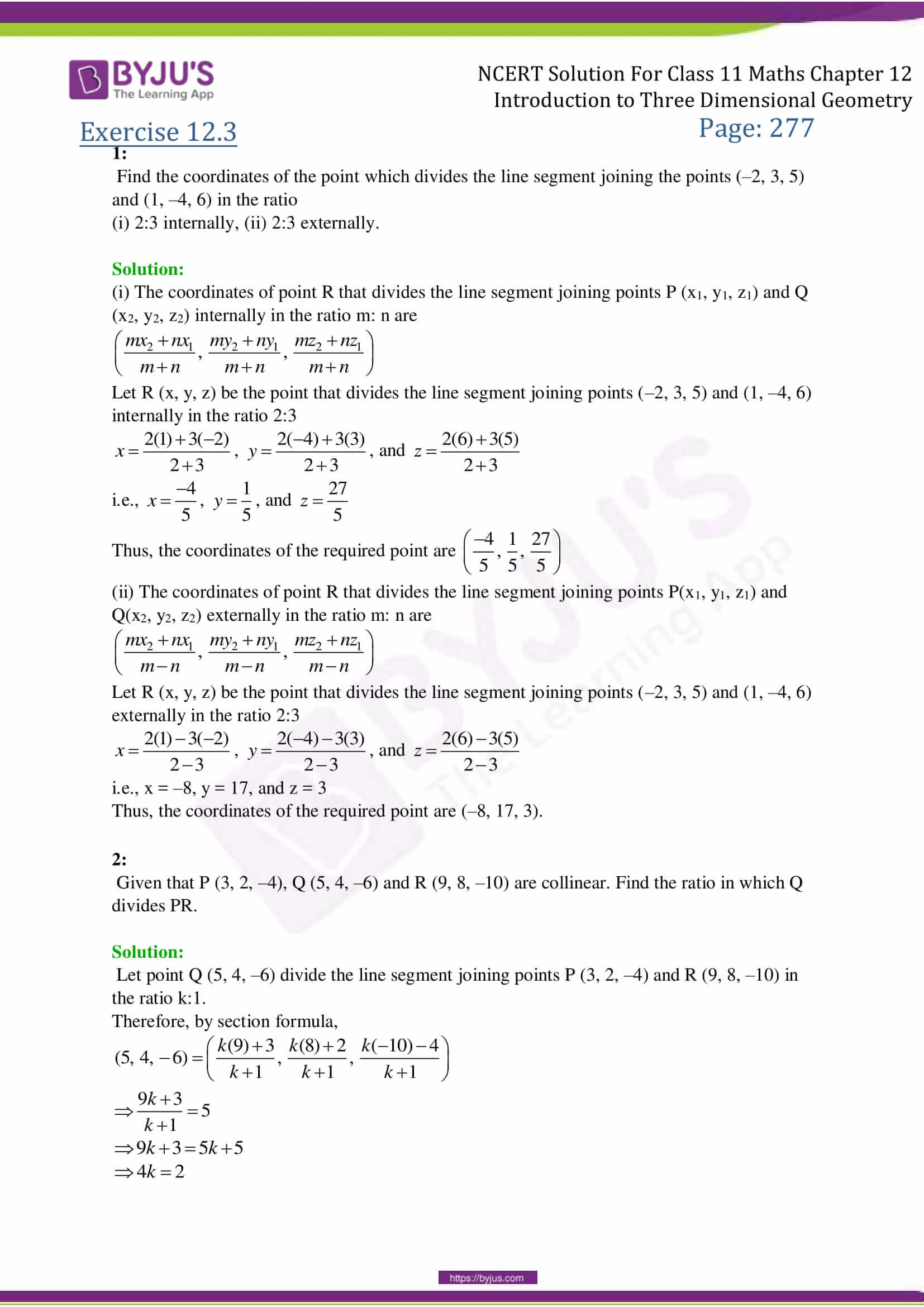 NCERT Solutions Class 11 Maths Chapter 12 Introduction to 3-D