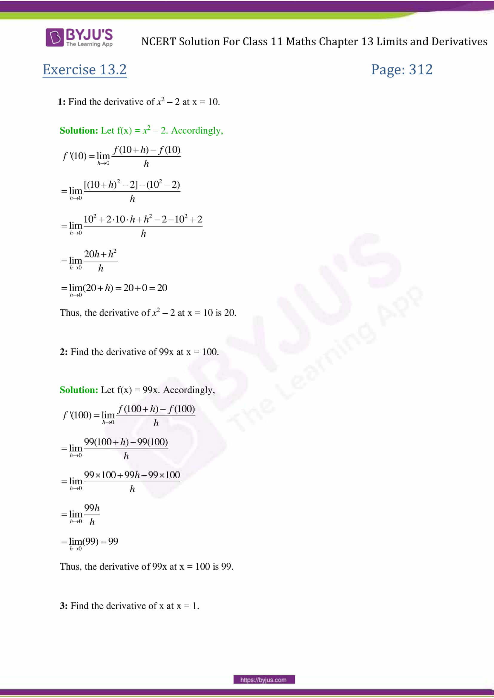 NCERT Solutions for Class 11 Maths Exercise 13 2 Chapter 13