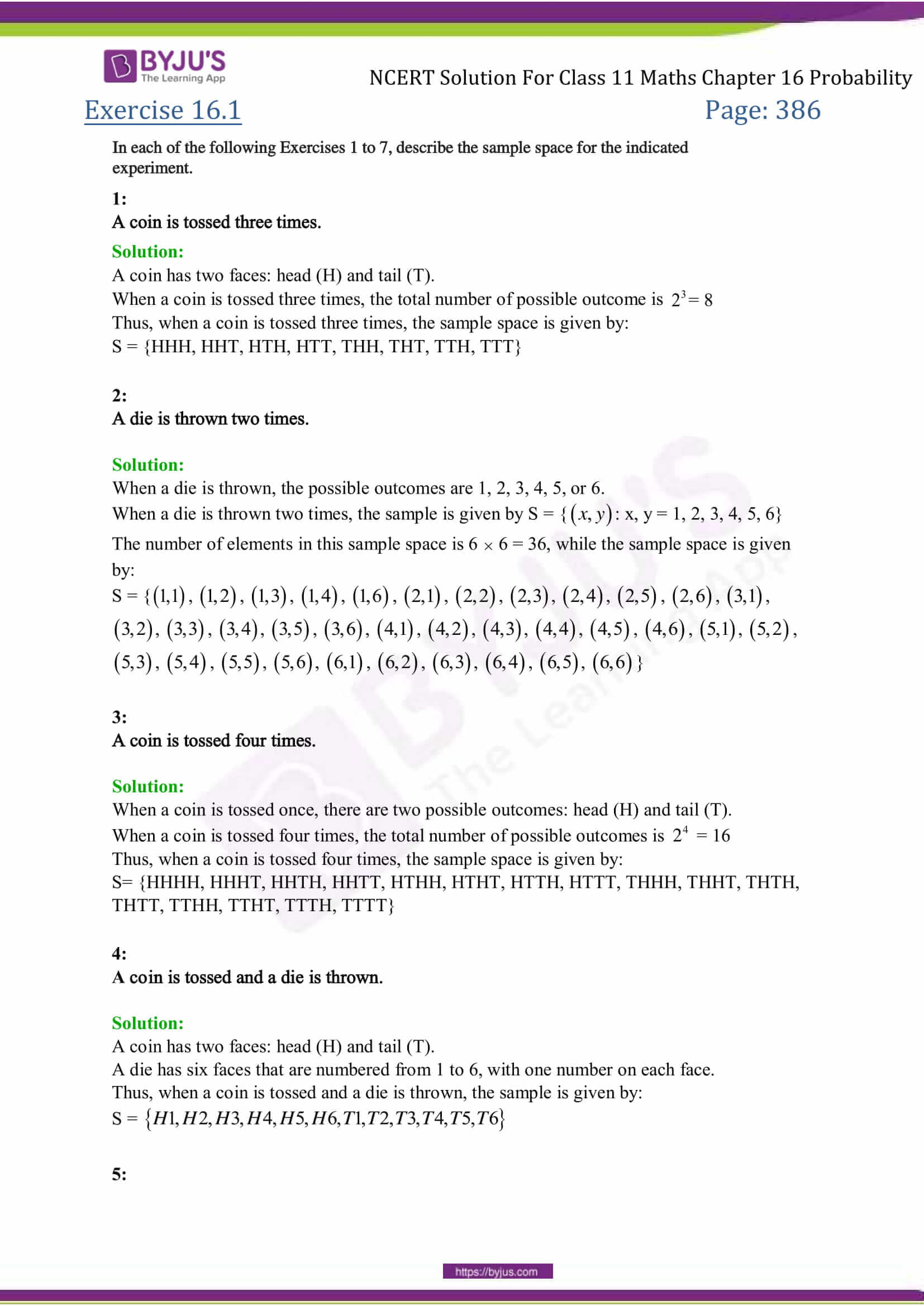NCERT Solutions Class 11 Maths Chapter 16 Theory of Probability