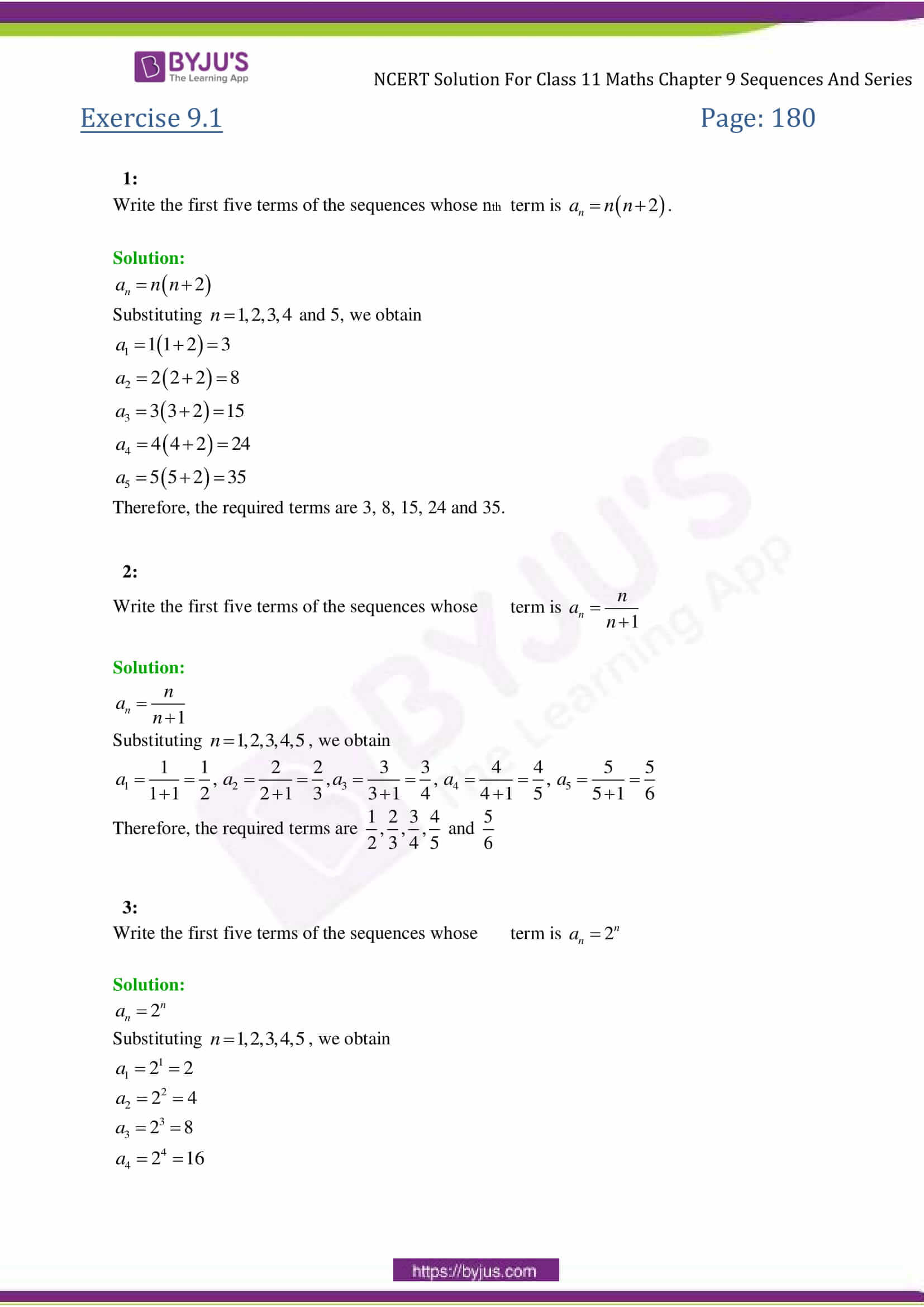 NCERT Solutions Class 11 Maths Chapter 9 Sequences and