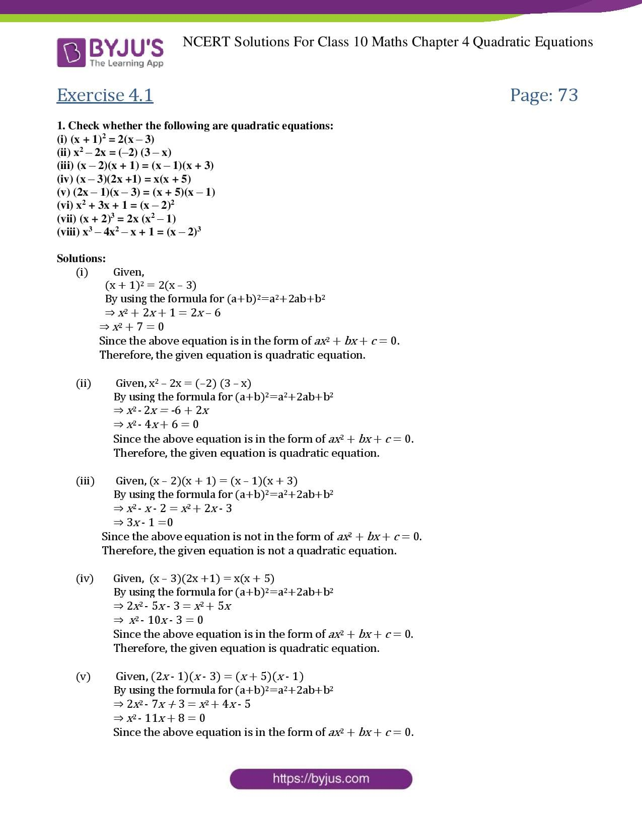 NCERT Solutions Class 10 Maths Chapter 4 Quadratic Equations