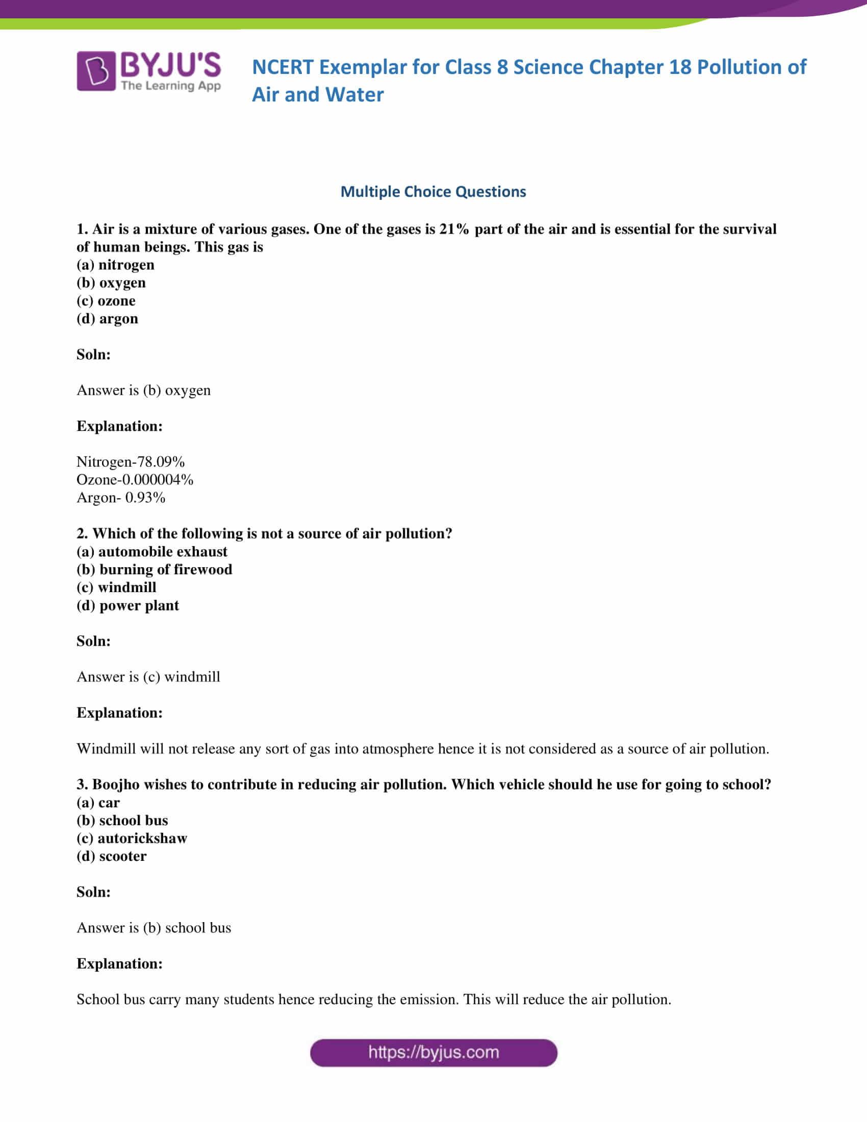NCERT exemplar solution class 8 science chapter 18 part 01