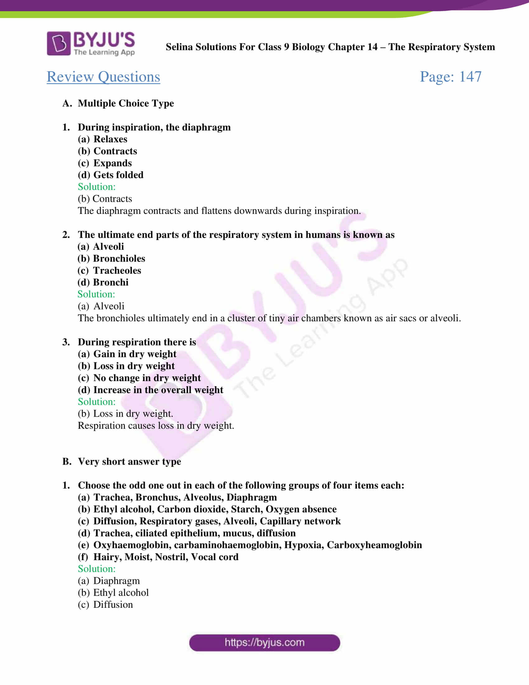 Selina Solutions Class 9 Biology Chapter 14 part 06