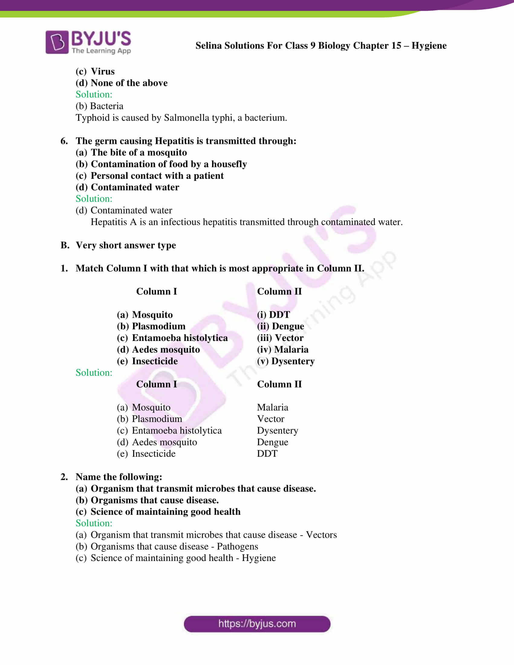 Selina Solutions Class 9 Biology Chapter 15 part 5