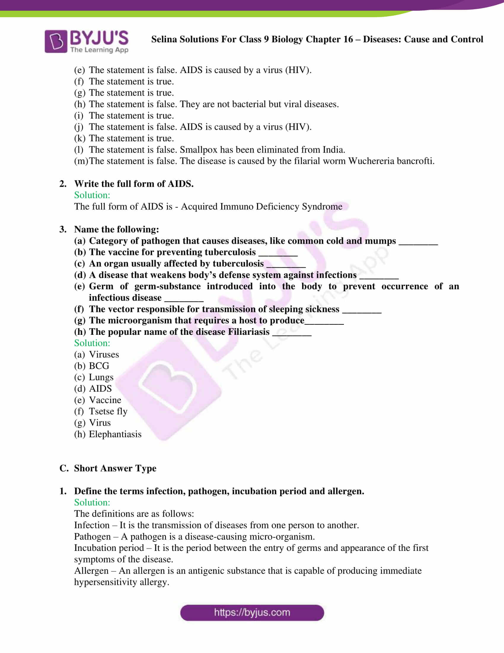Selina Solutions Class 9 Biology Chapter 16 part 4