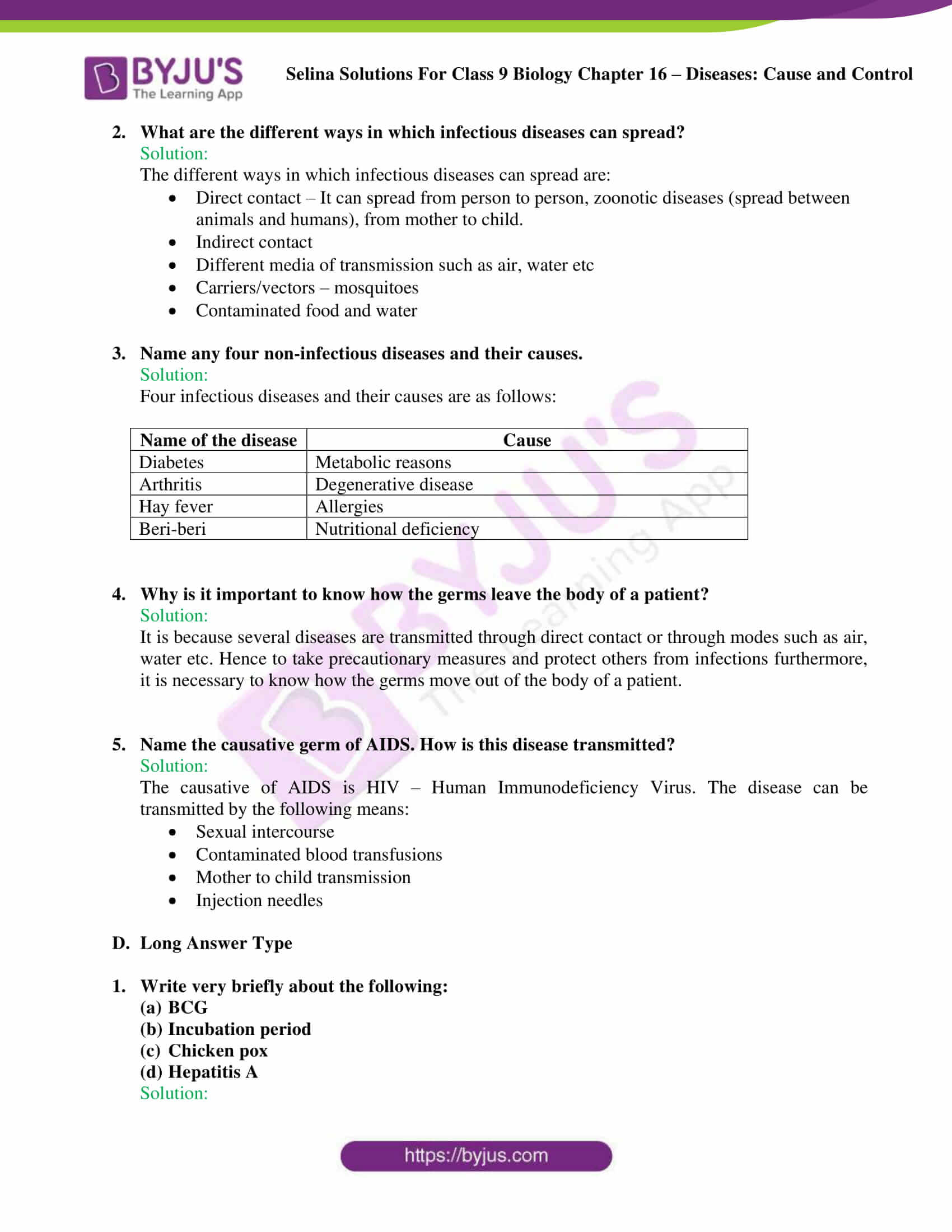 Selina Solutions Class 9 Biology Chapter 16 part 5