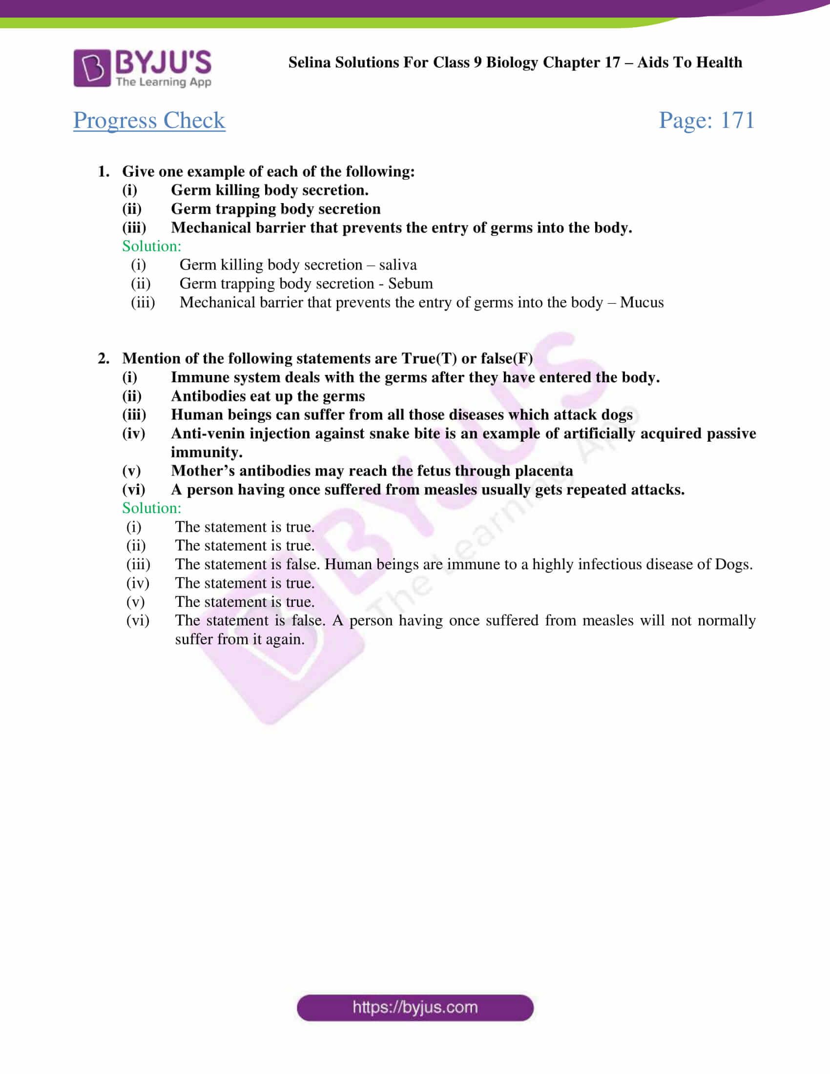 Selina Solutions Class 9 Biology Chapter 17 part 01