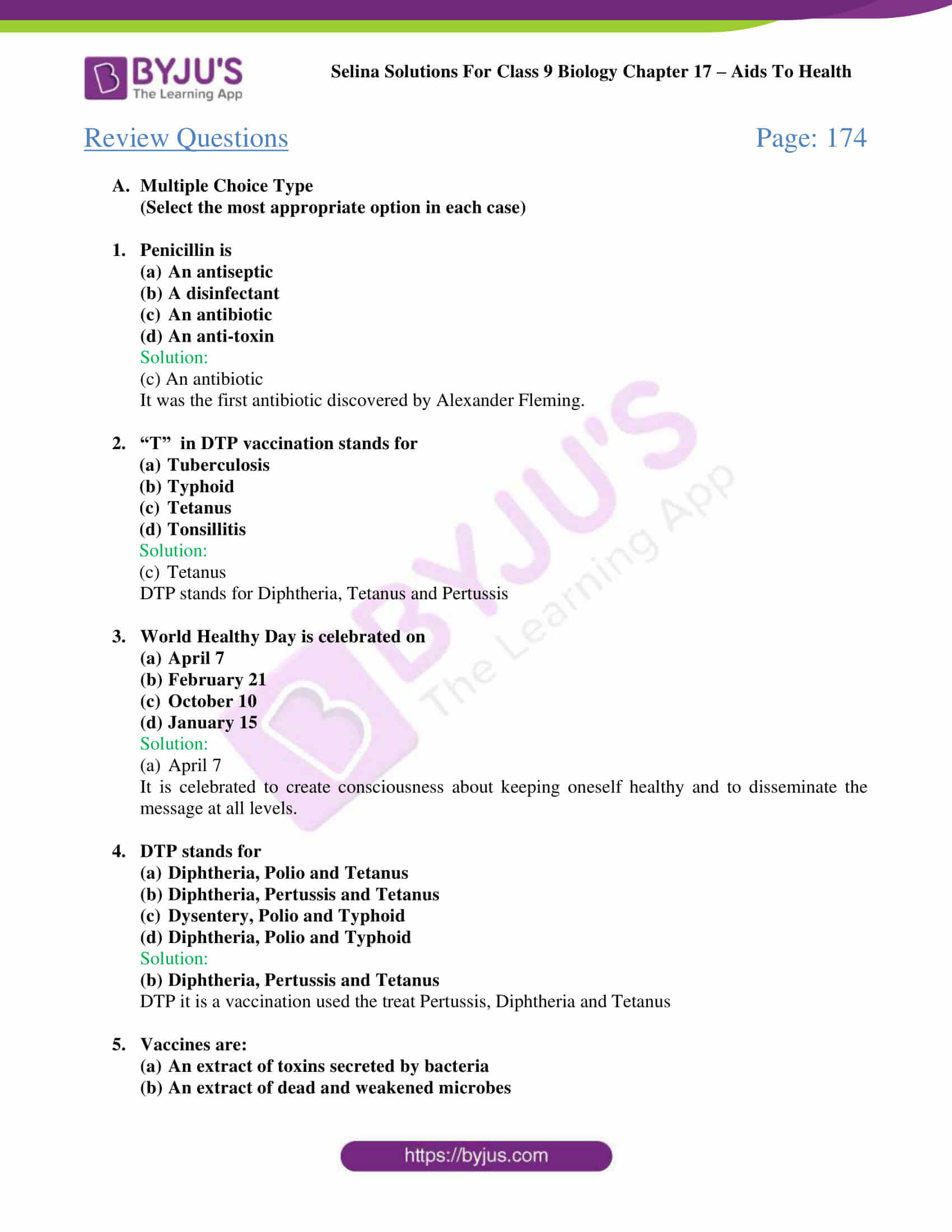 Selina Solutions Class 9 Biology Chapter 17 part 04