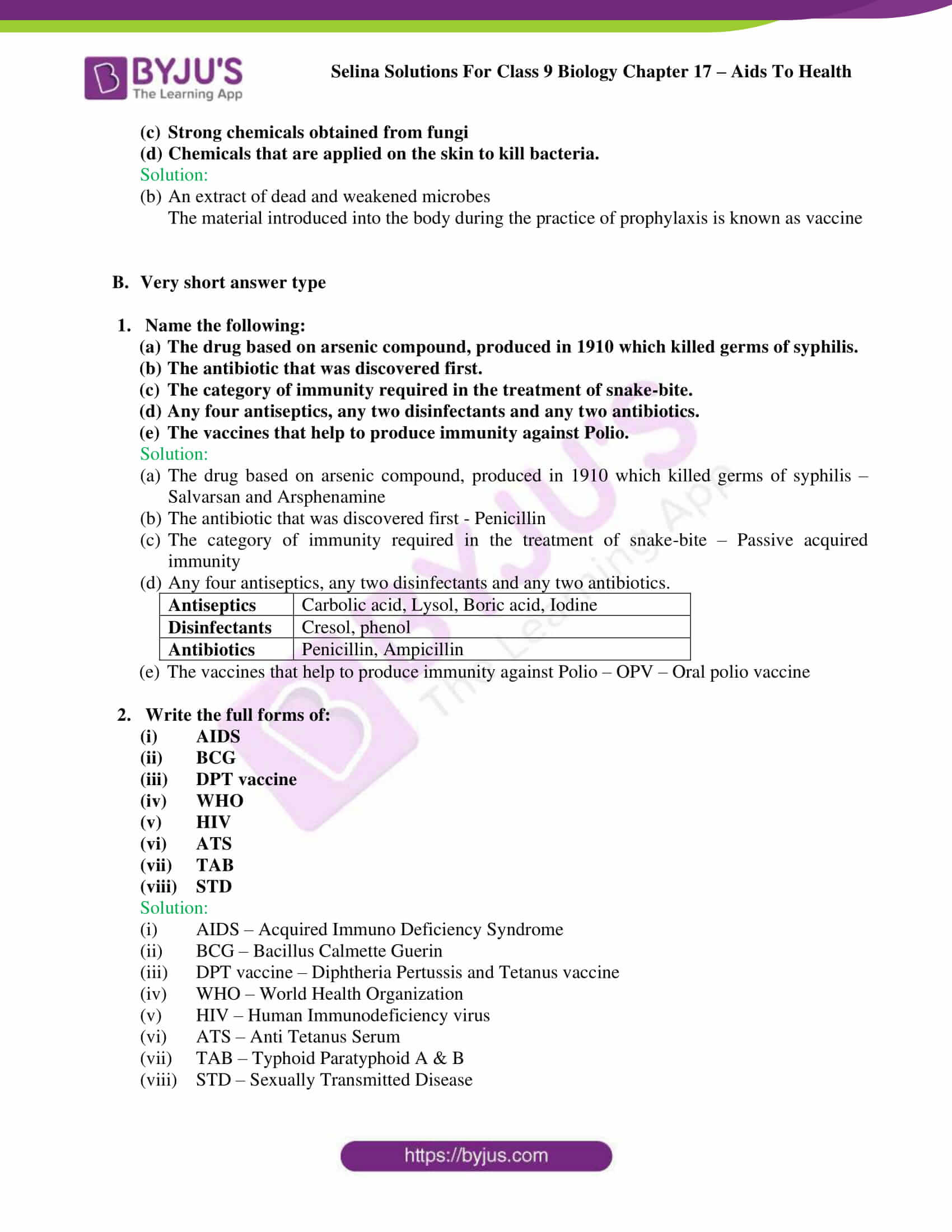 Selina Solutions Class 9 Biology Chapter 17 part 05