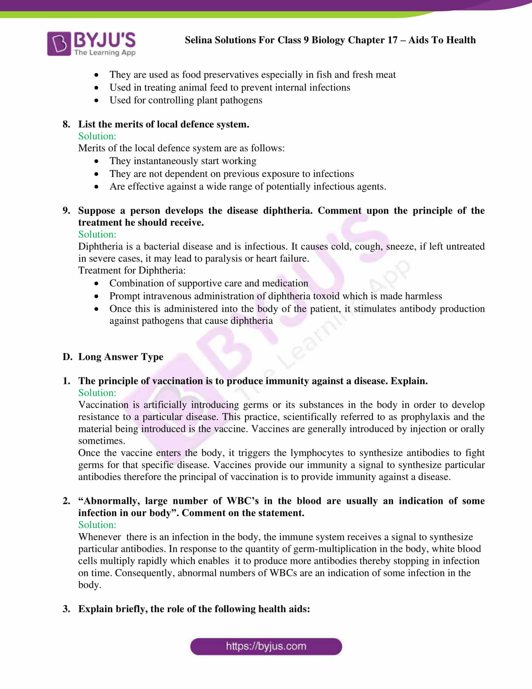 Selina Solutions Class 9 Biology Chapter 17 part 10