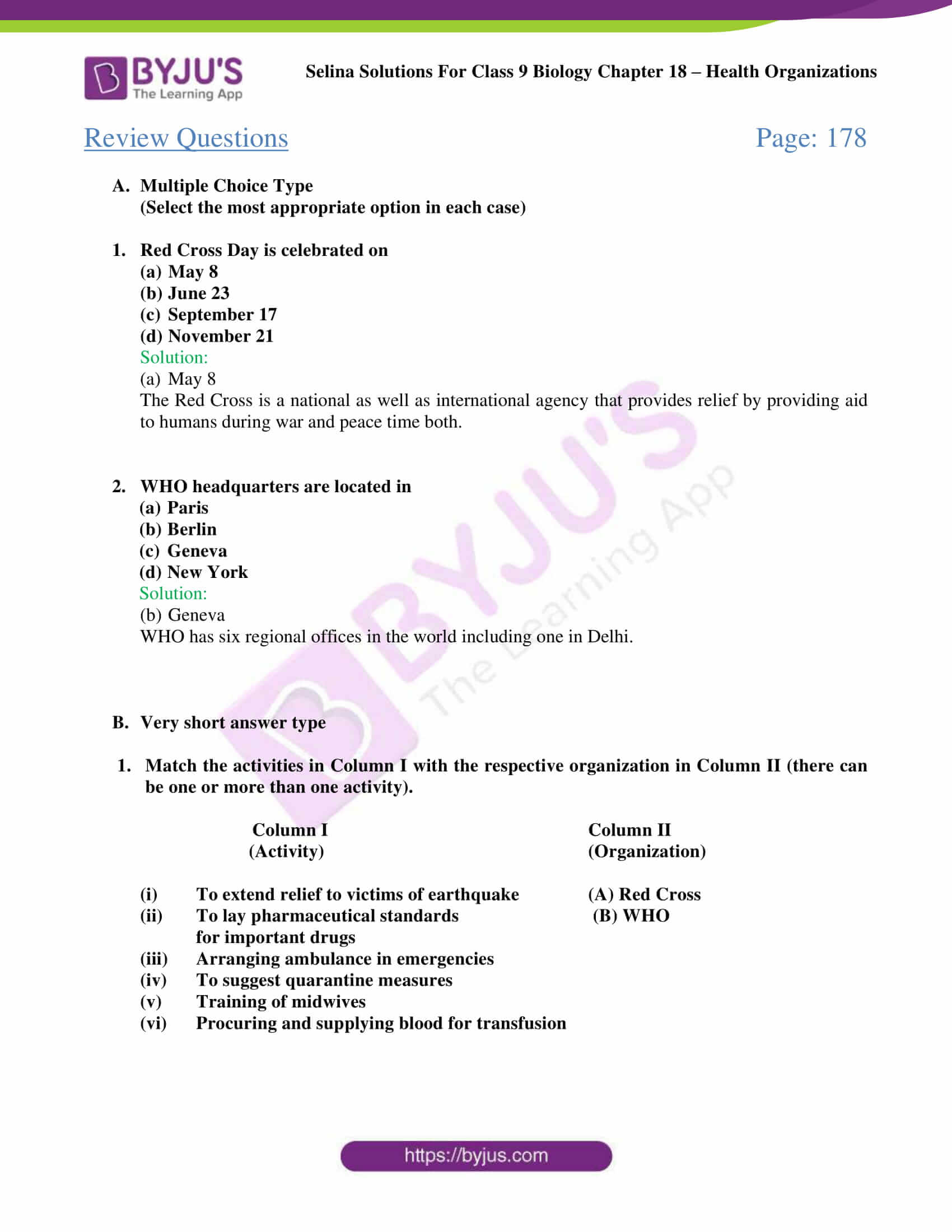Selina Solutions Class 9 Biology Chapter 18 part 2