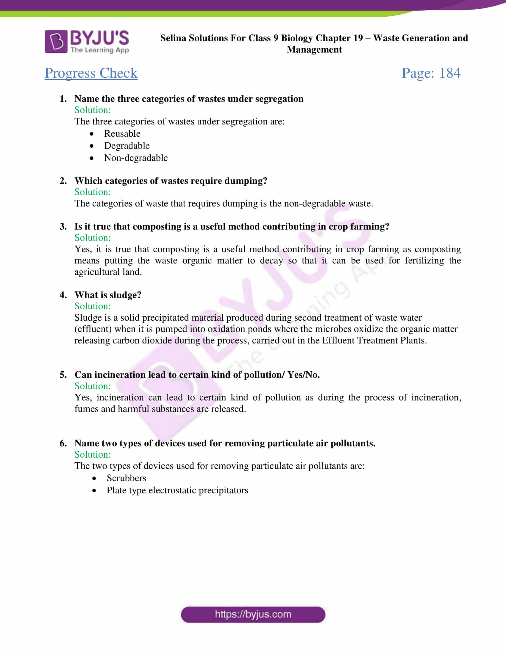 Selina Concise Biology Class 9 Chapter 19 Solutions – Waste