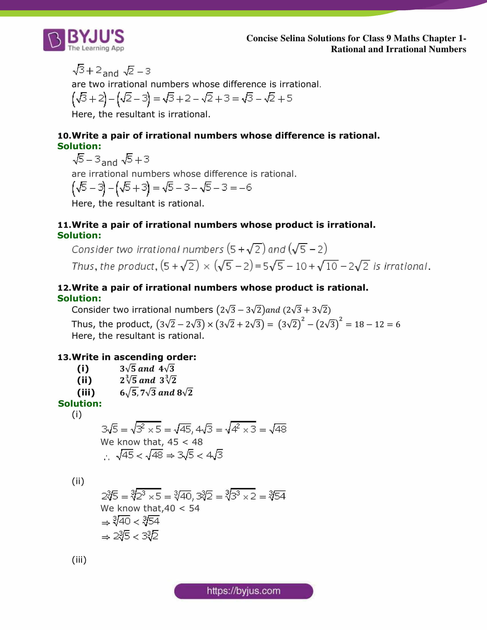 Selina Solutions Class 9 Maths Chapter 1 Rational And Irrational Numbers part 13