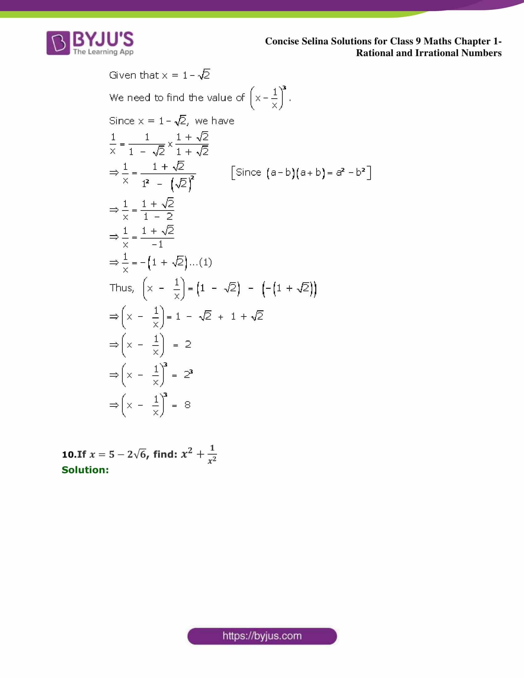 Selina Solutions Class 9 Maths Chapter 1 Rational And Irrational Numbers part 29
