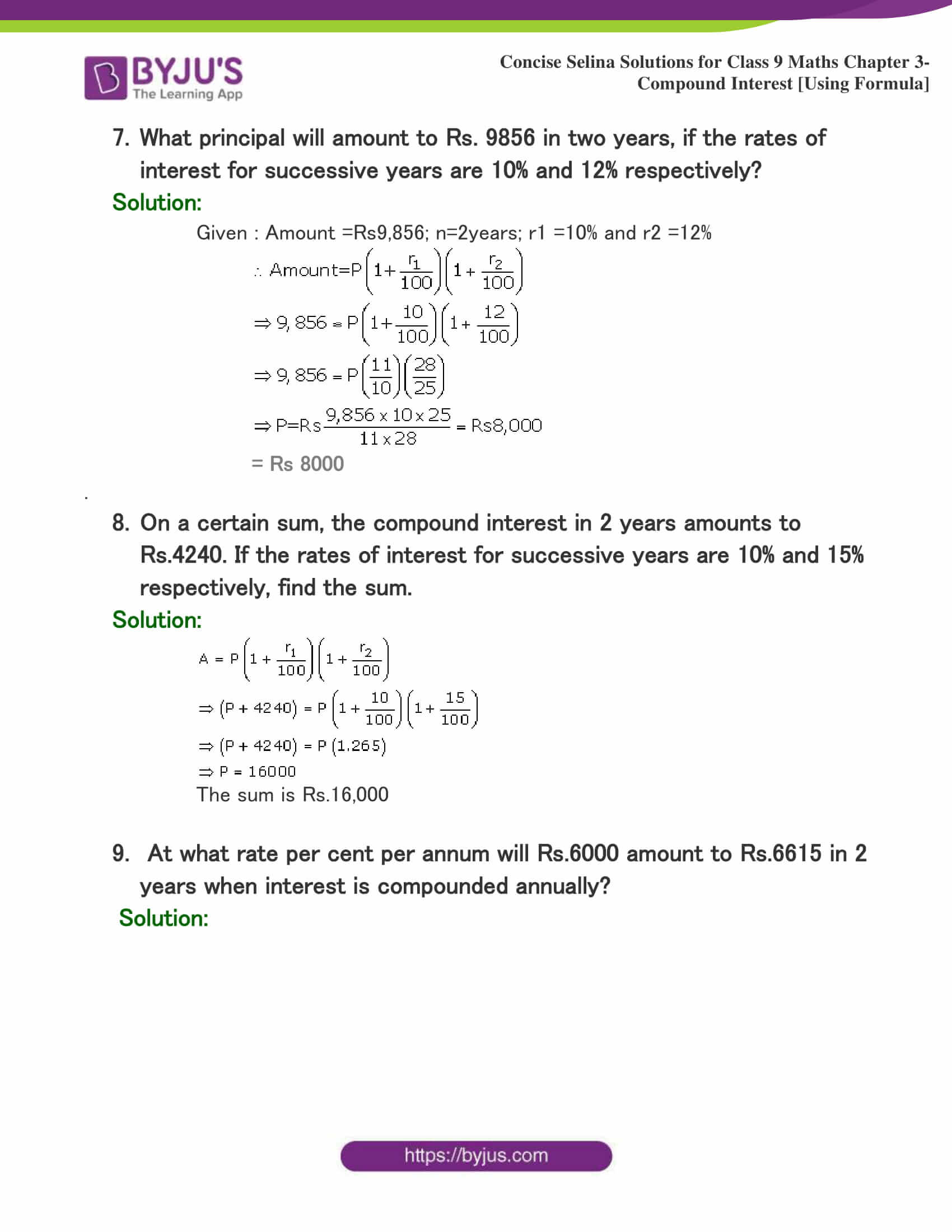 Selina Solutions Class 9 Maths Chapter 3 Compound Interest Using Formula part 04