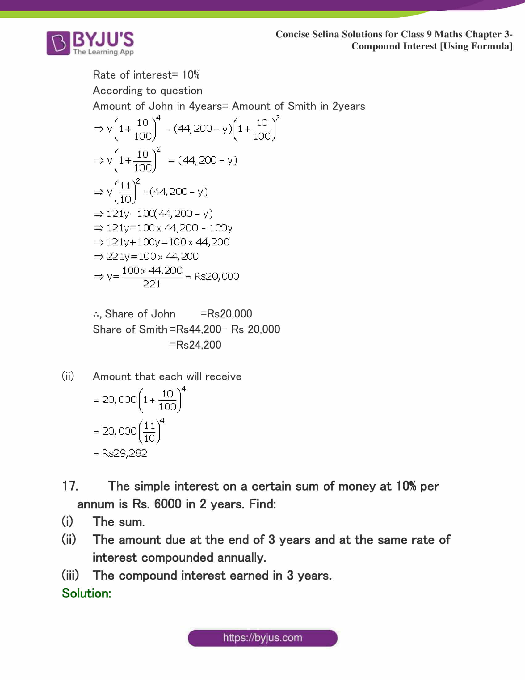 Selina Solutions Class 9 Maths Chapter 3 Compound Interest Using Formula part 10