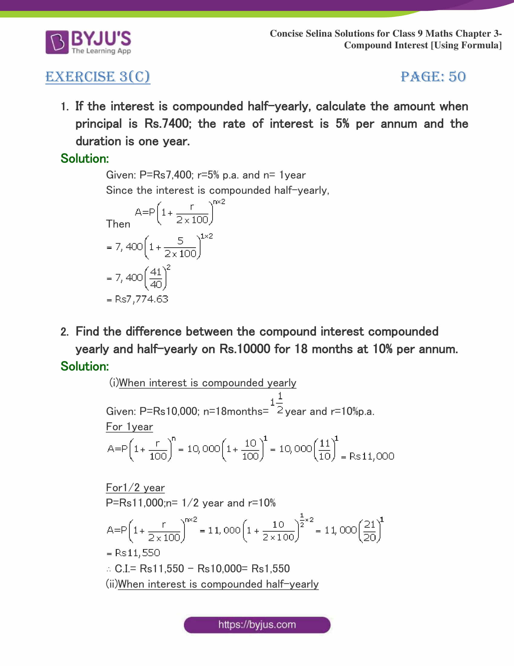 Selina Solutions Class 9 Maths Chapter 3 Compound Interest Using Formula part 22
