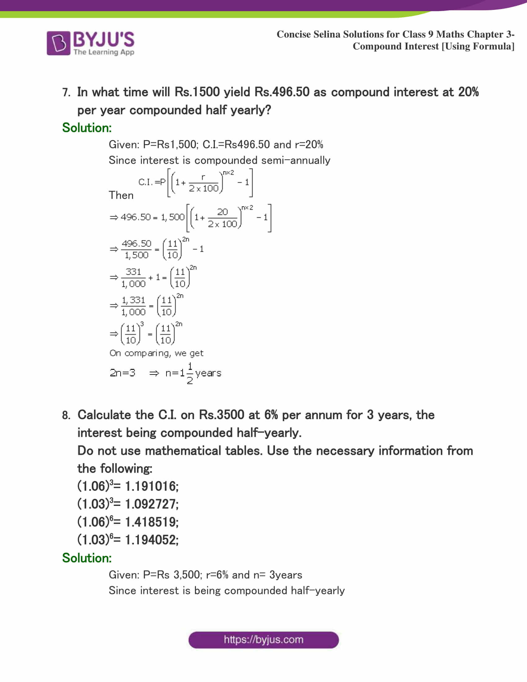 Selina Solutions Class 9 Maths Chapter 3 Compound Interest Using Formula part 26