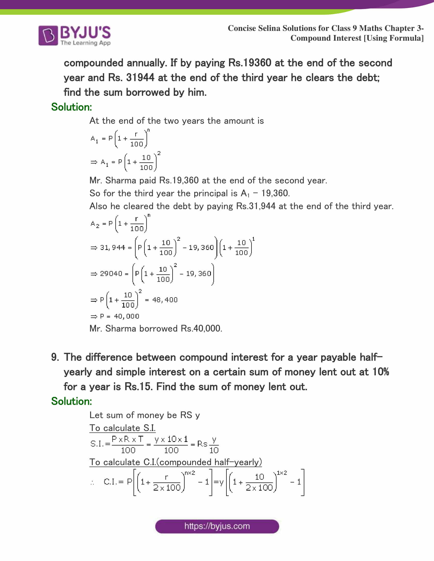 Selina Solutions Class 9 Maths Chapter 3 Compound Interest Using Formula part 34