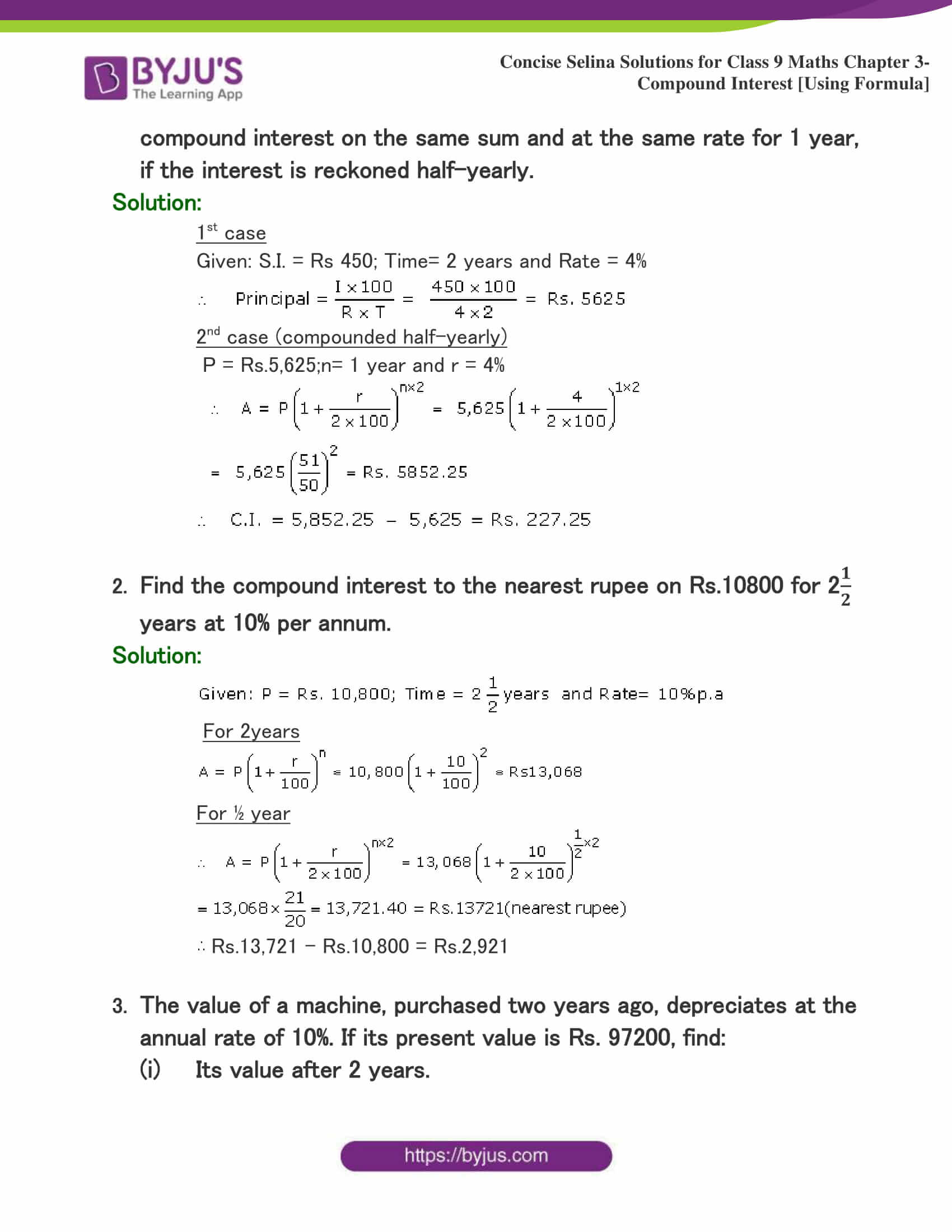 Selina Solutions Class 9 Maths Chapter 3 Compound Interest Using Formula part 36