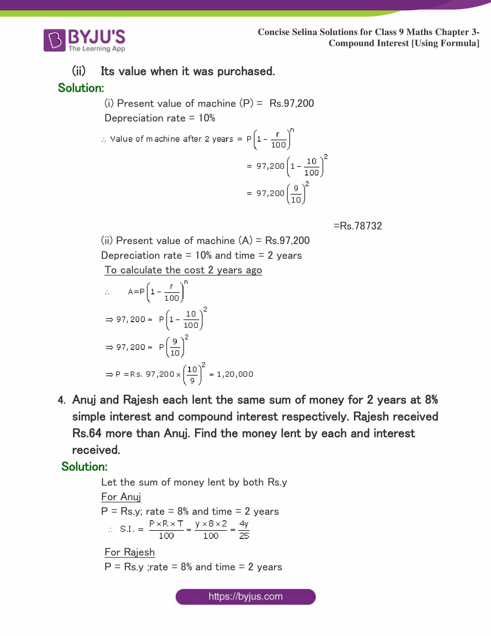 Selina Solutions Class 9 Maths Chapter 3 Compound Interest Using Formula part 37