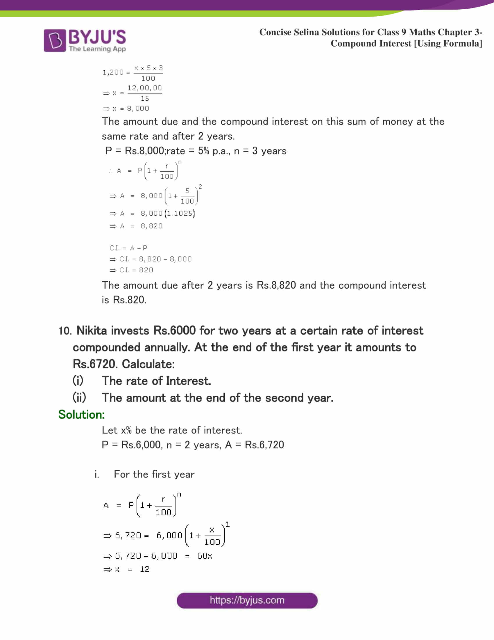 Concise Selina Solutions for Class 9 Maths Chapter 3