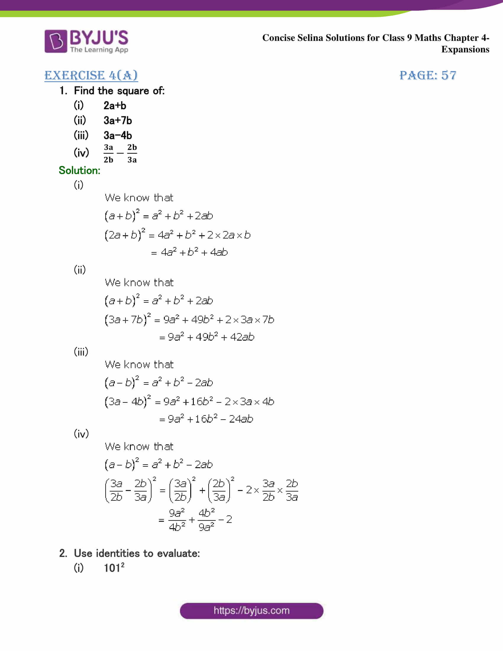 Selina Solutions Class 9 Maths Chapter 4 Expansions part 01
