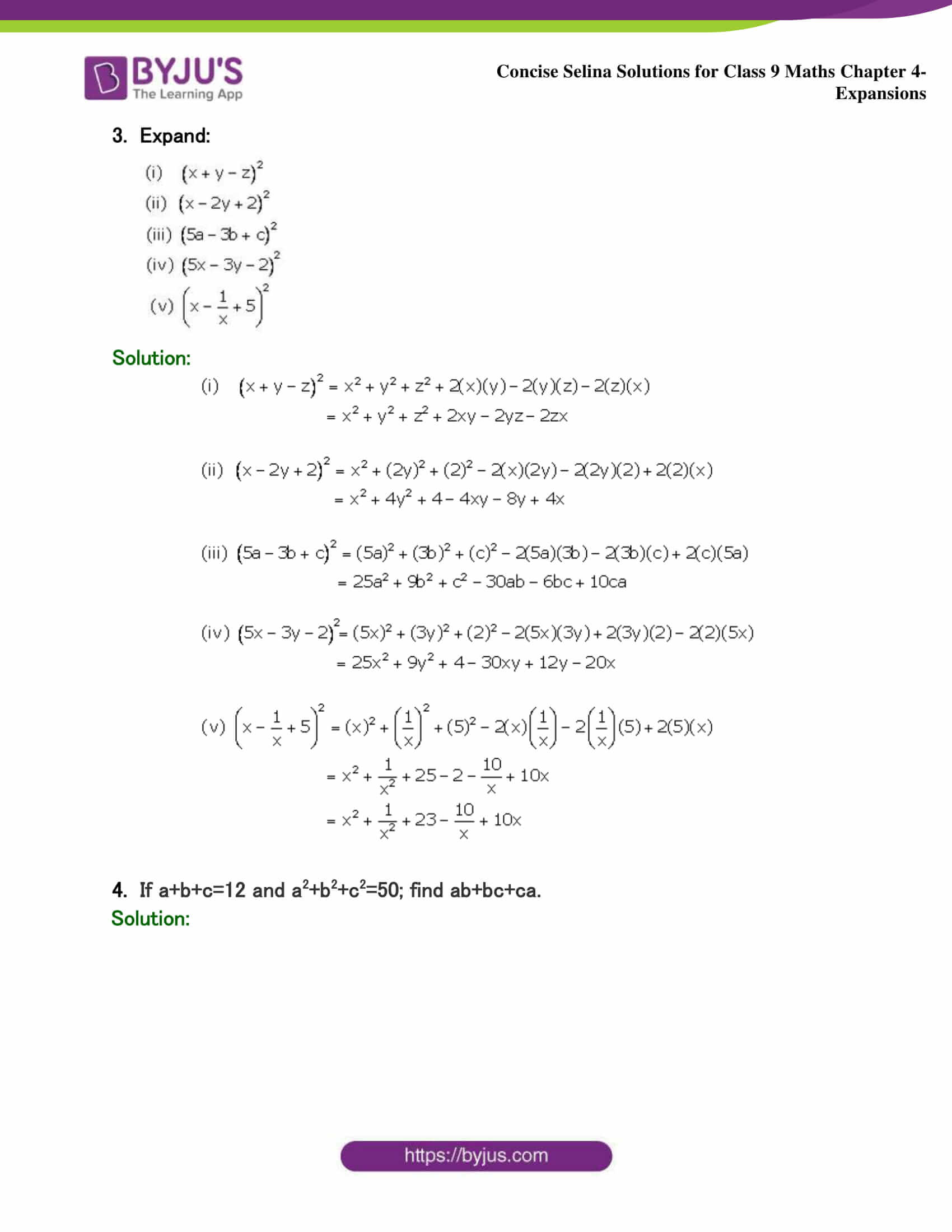 Selina Solutions Class 9 Maths Chapter 4 Expansions part 27