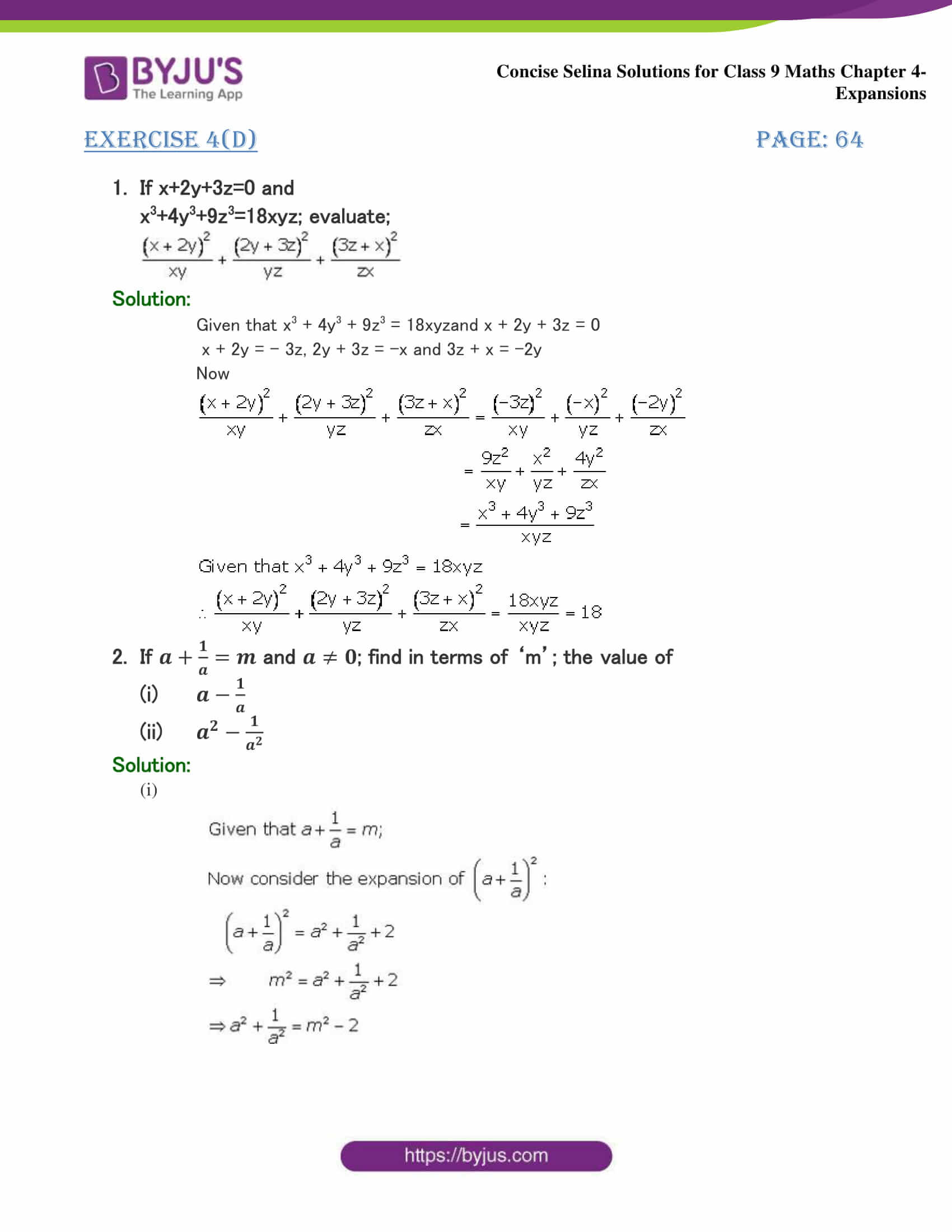 Selina Solutions Class 9 Maths Chapter 4 Expansions part 30