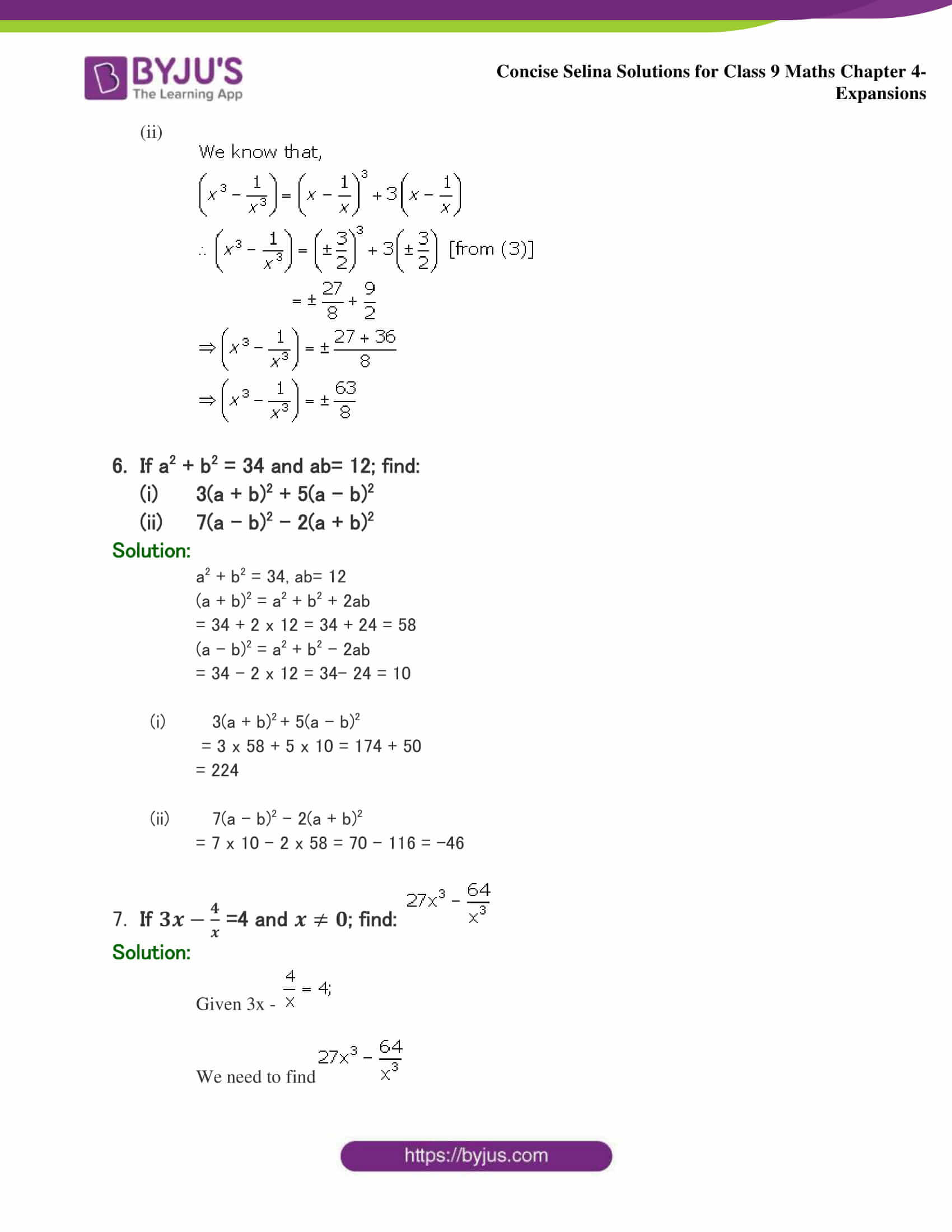 Selina Solutions Class 9 Maths Chapter 4 Expansions part 34