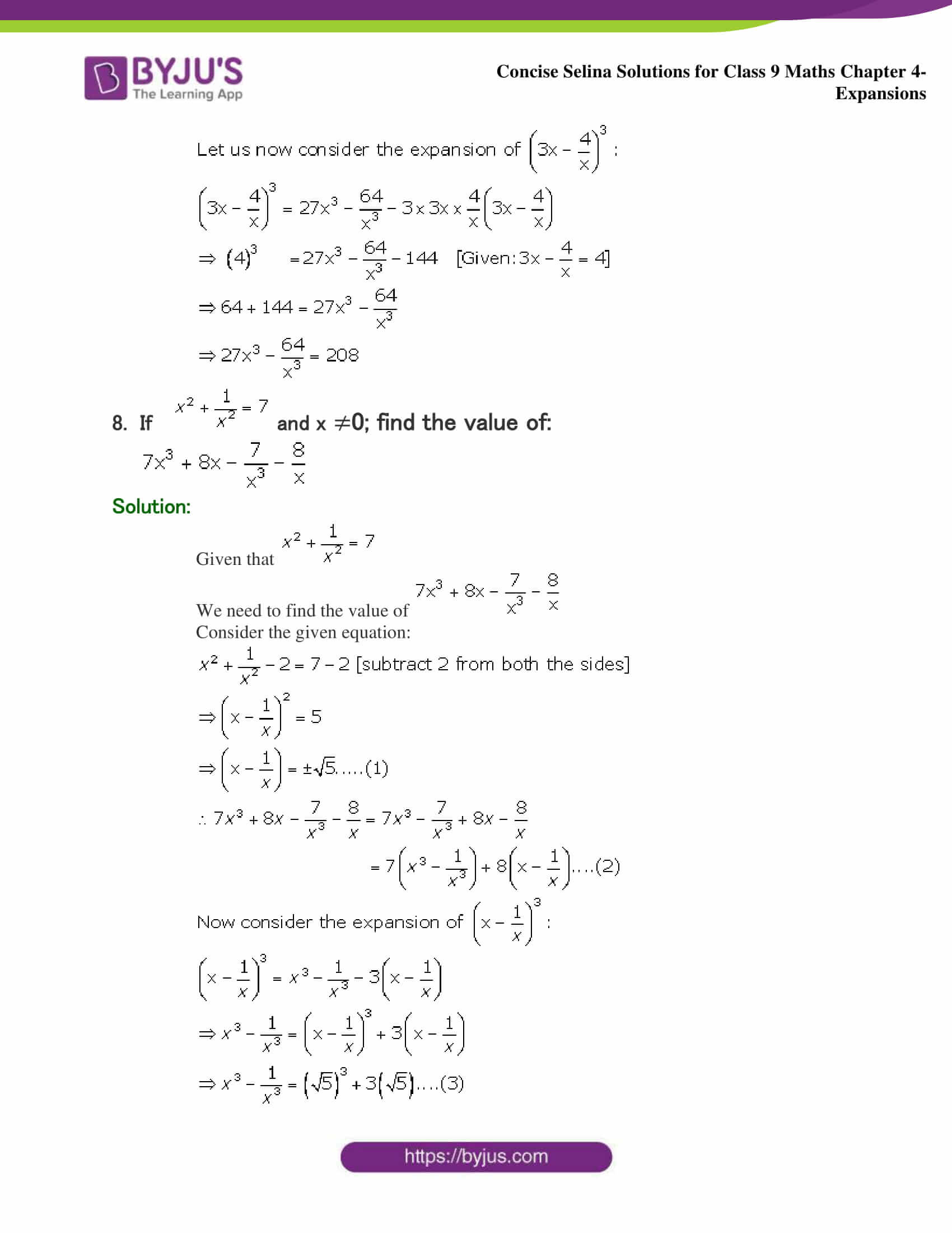 Selina Solutions Class 9 Maths Chapter 4 Expansions part 35